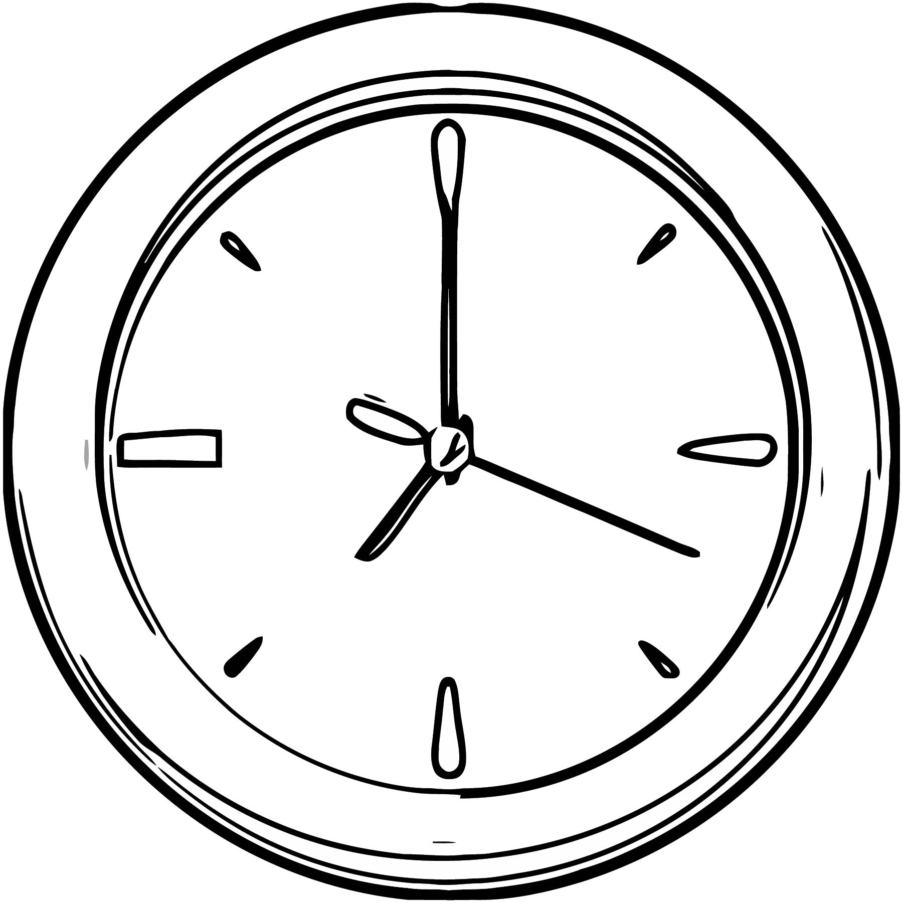 Wall Clock Free Printable 1 Cartoonized Free Printable Coloring Page