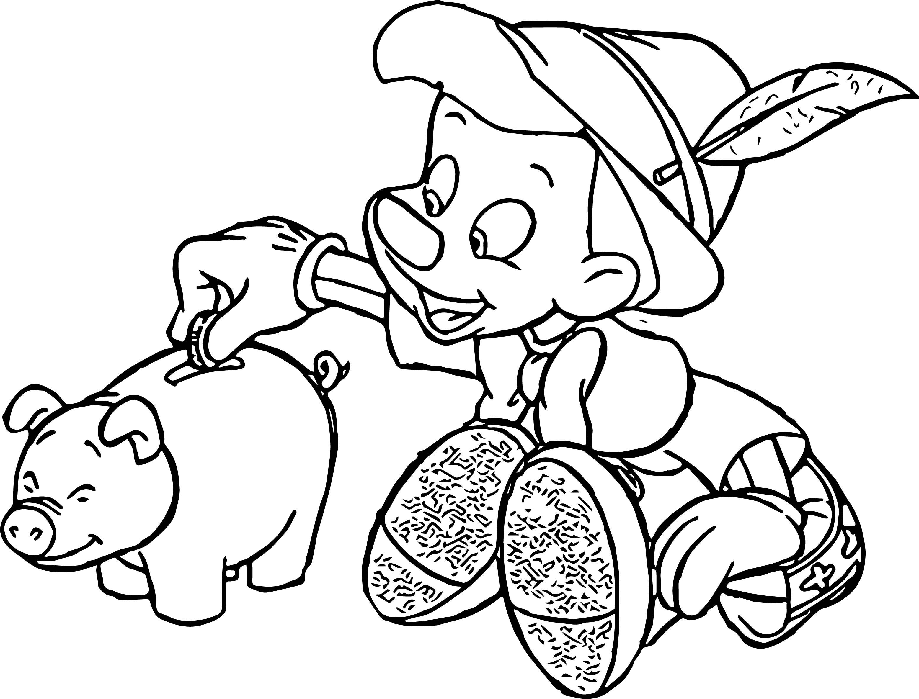 pinocchio piggy money coloring page