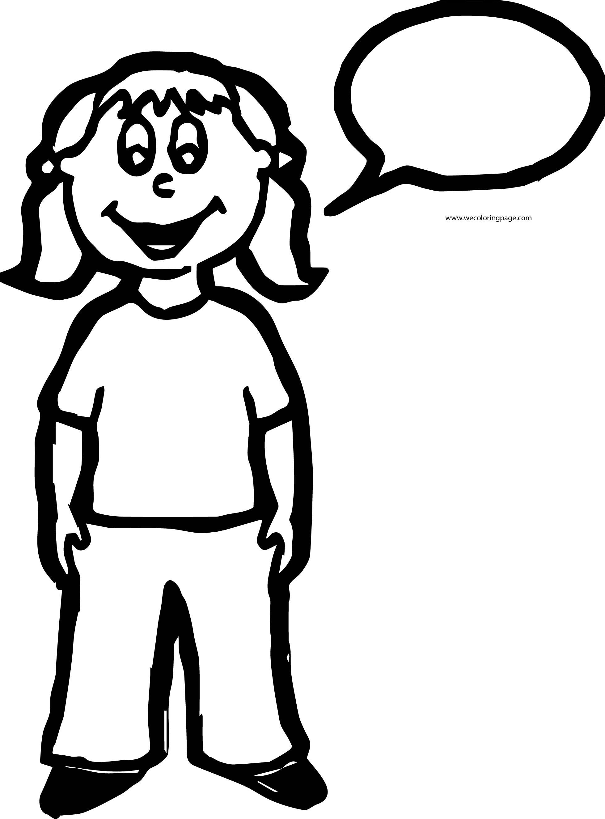 English Teacher Student Speech Balloon Coloring Page