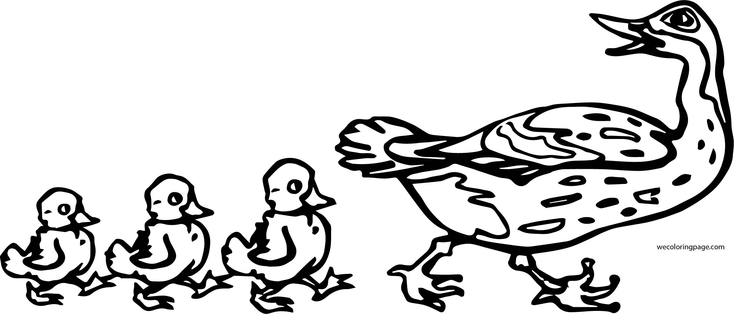Mom Duck And Three Baby Duck Coloring Page