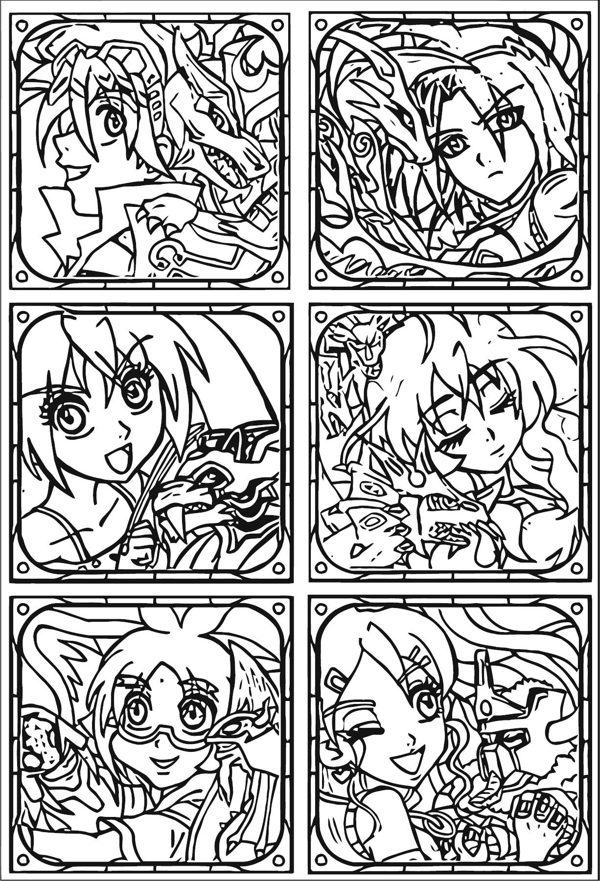 Bakugan Stamp Collection Cards Coloring Page