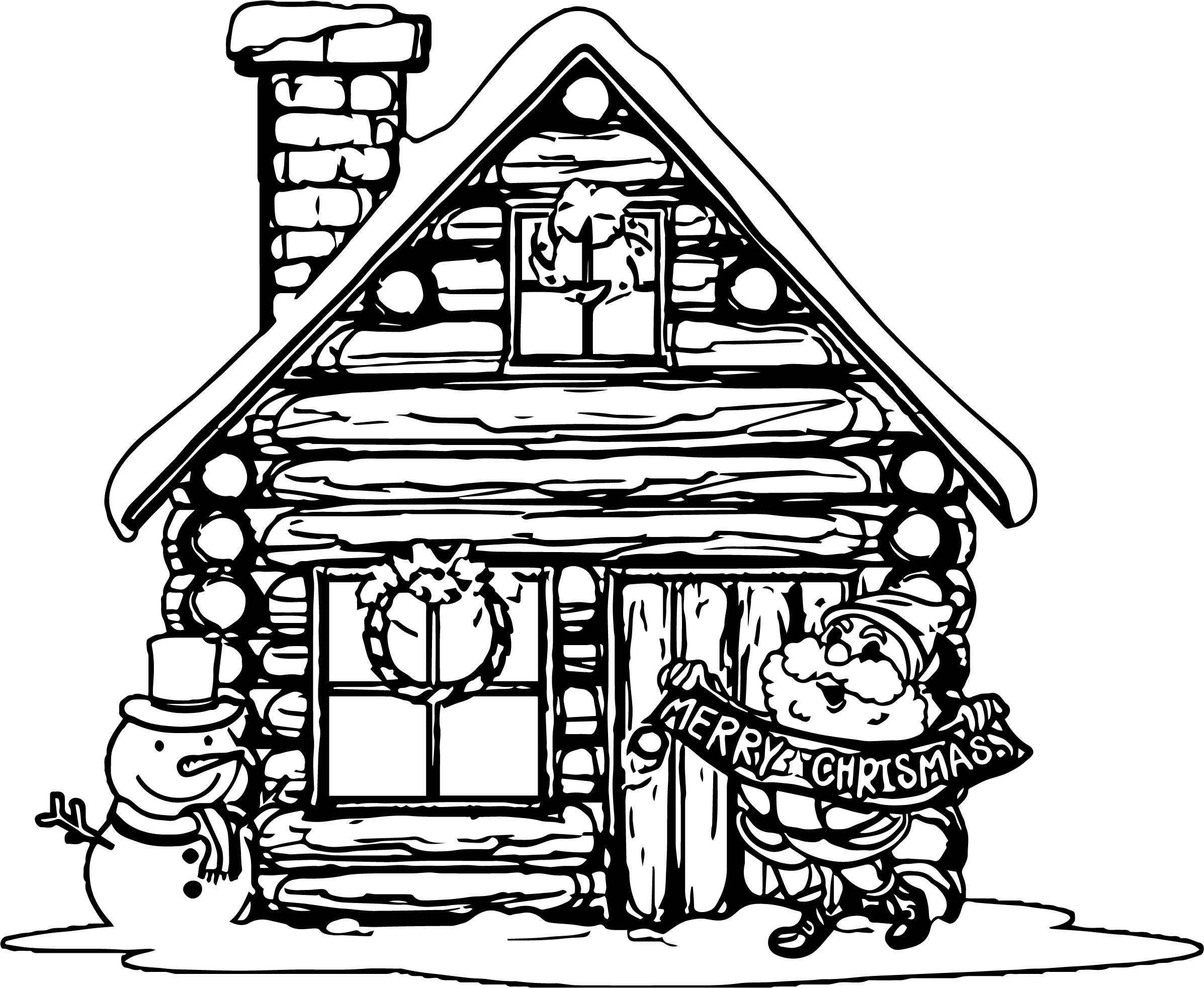Christmas house with santa and snowman coloring page