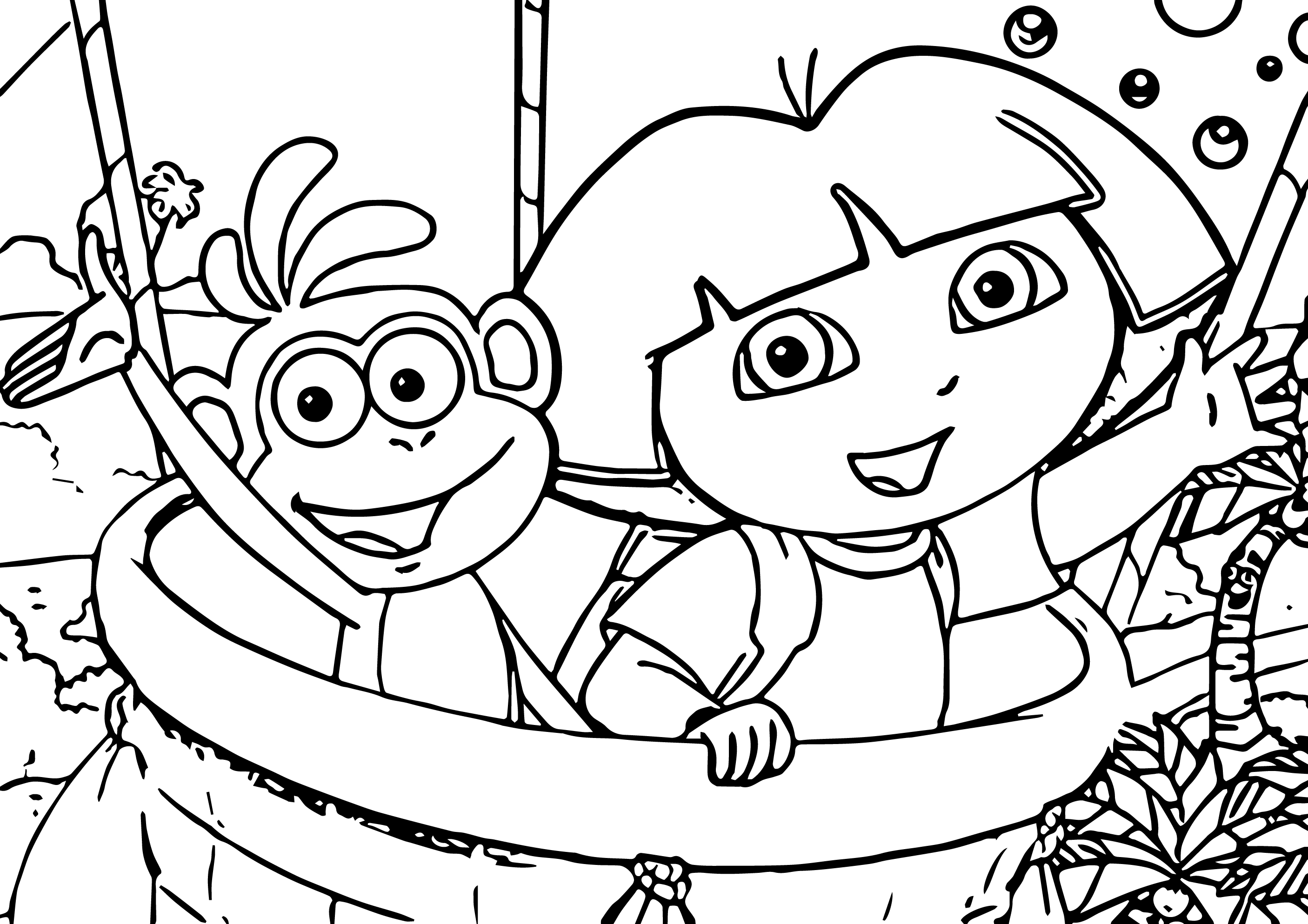 Dora And Monkey Coloring Page