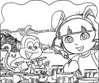 Dora The Explorer Dora Loves Easter Bunny Dora And Painting Monkey Coloring Page