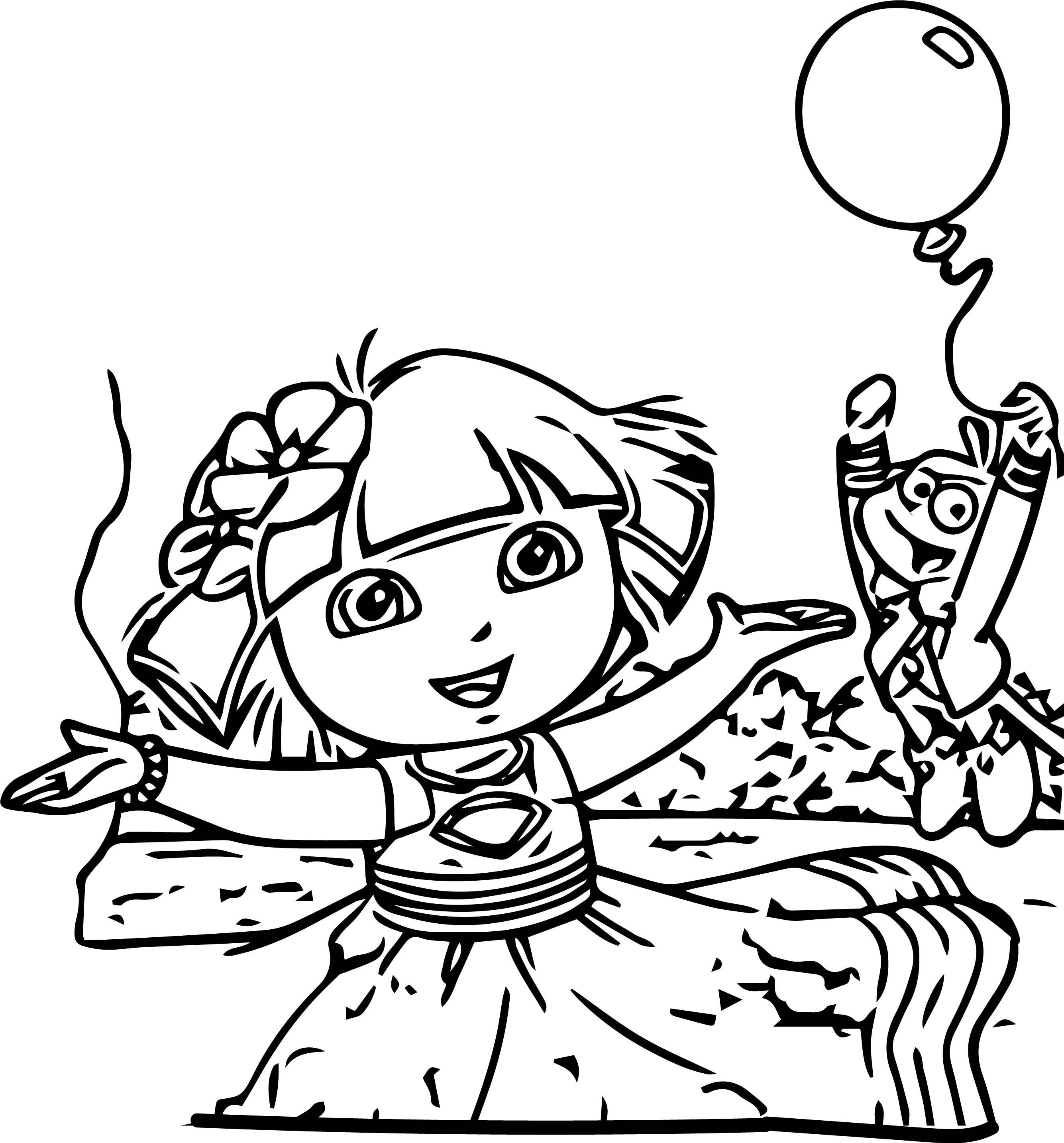 Dora The Explorer Lets Celebrate Cartoon Coloring Page