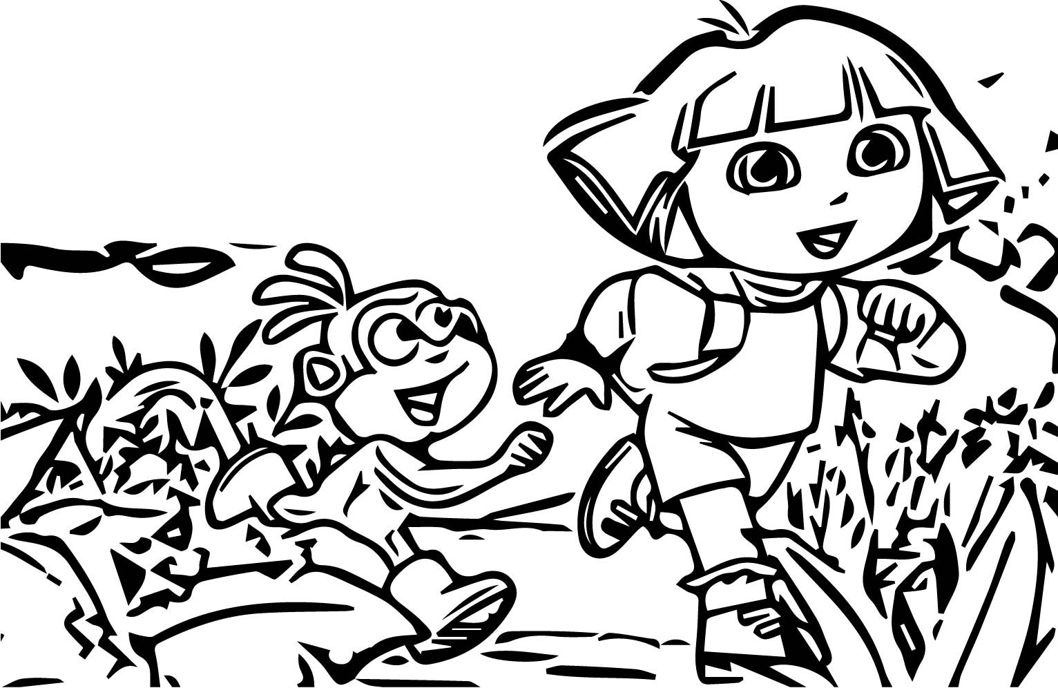 Dora The Explorer With Monkey Run Forest Coloring Page