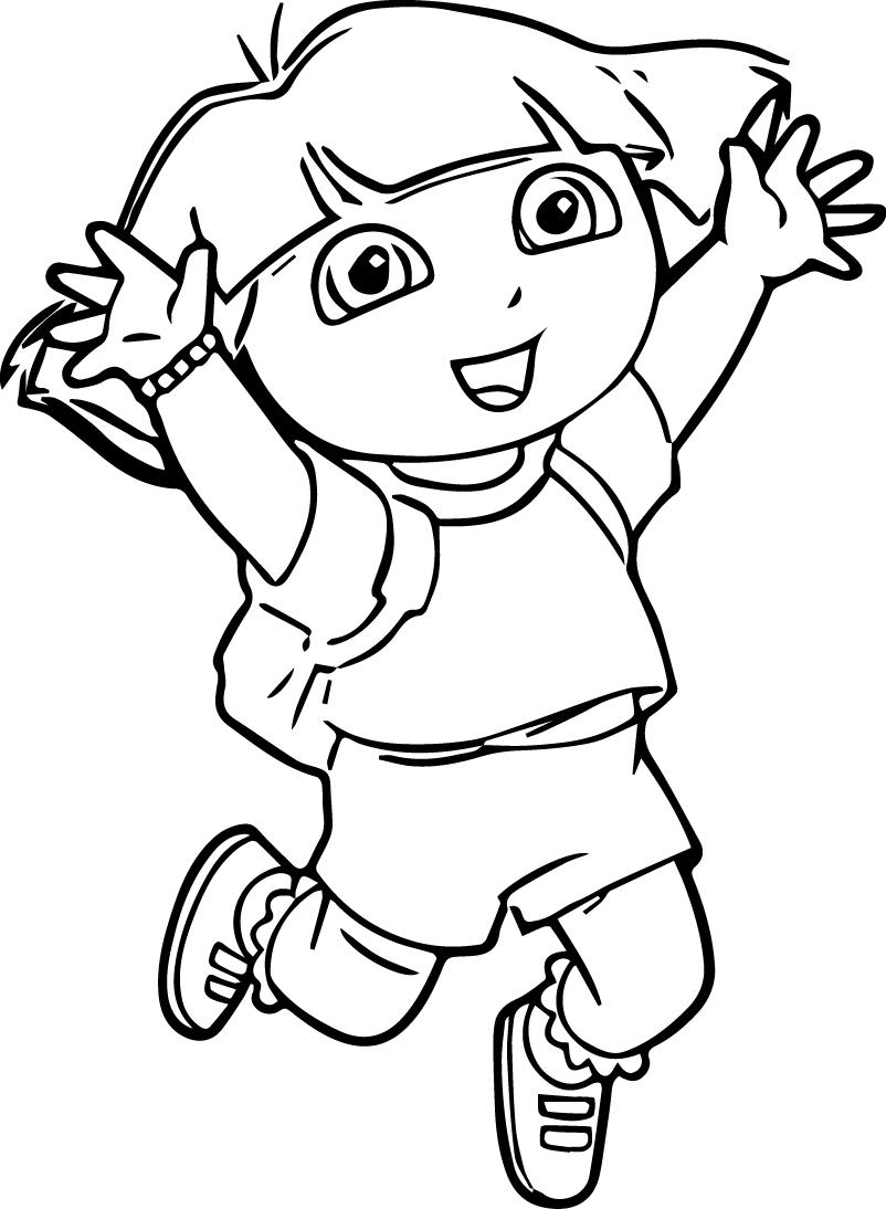 Dora Very Happy Coloring Page