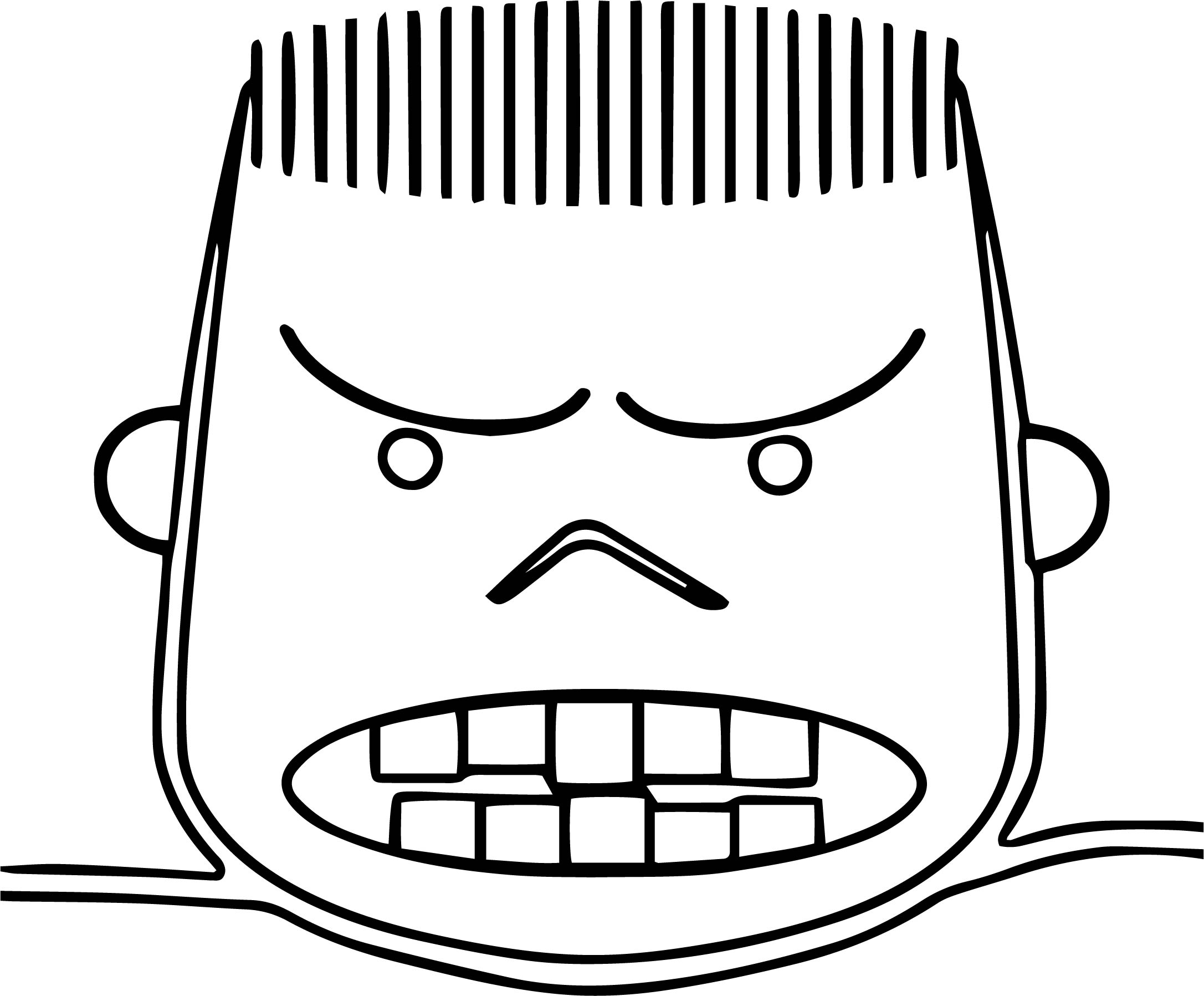 Face Angry Boy Outline Line Coloring Page