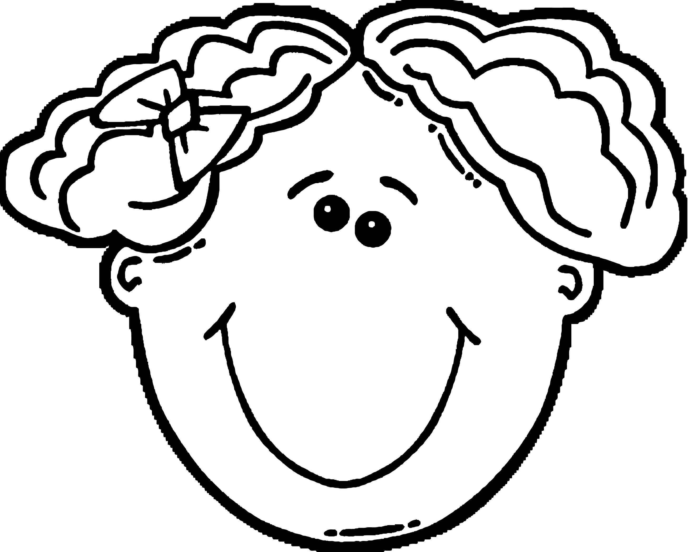 Face Girl Face Clip Art Short Hair Coloring Page