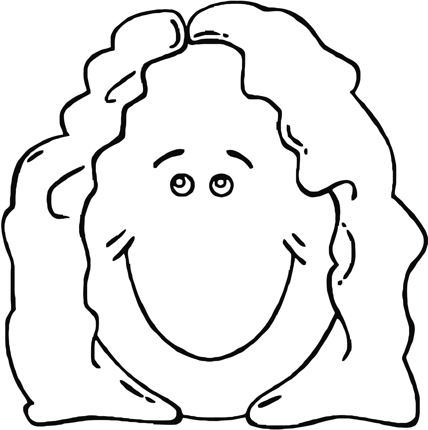 Face Lady Face Clip Art Coloring Page 2