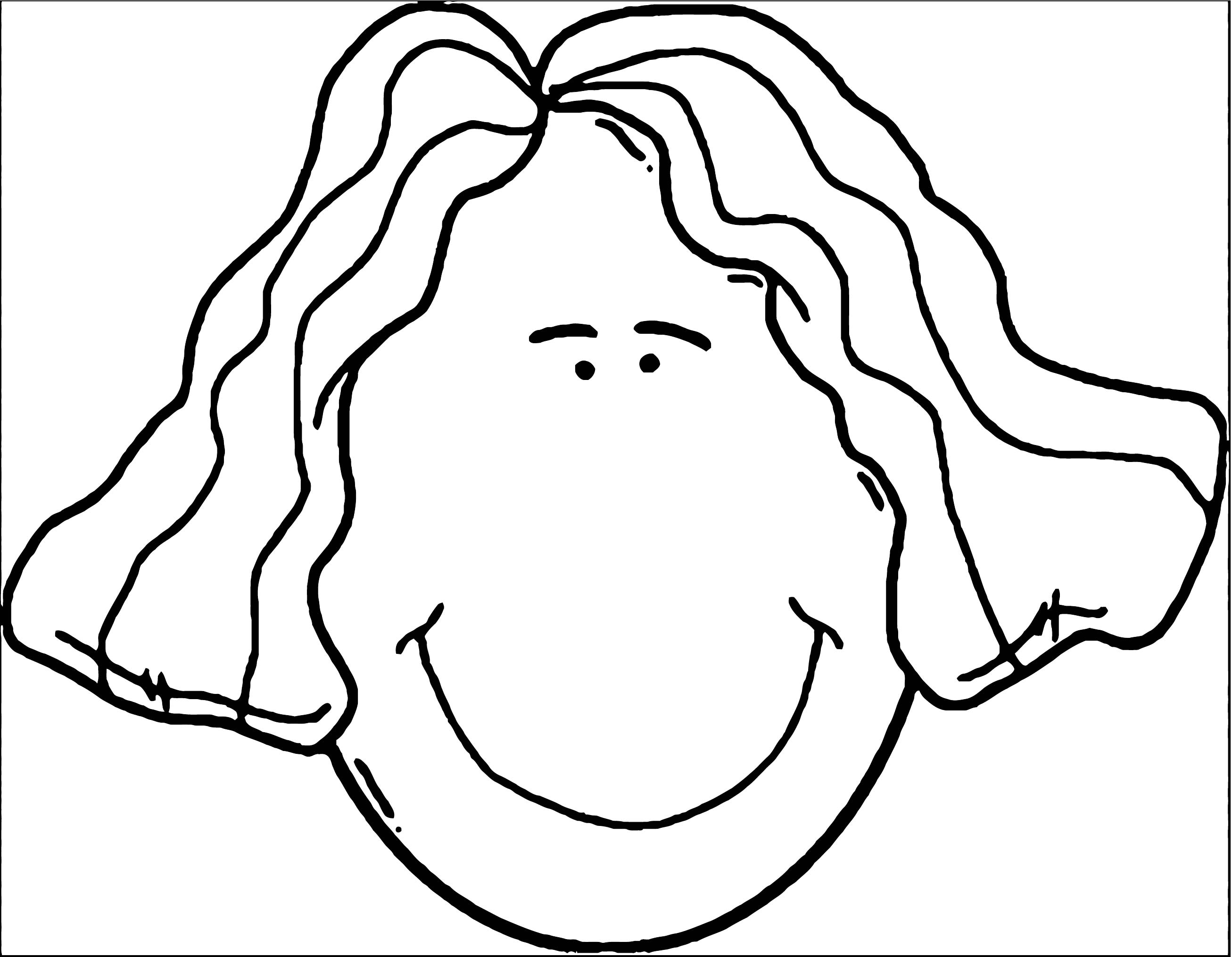 Face Lady Face Clip Art Coloring Page 3
