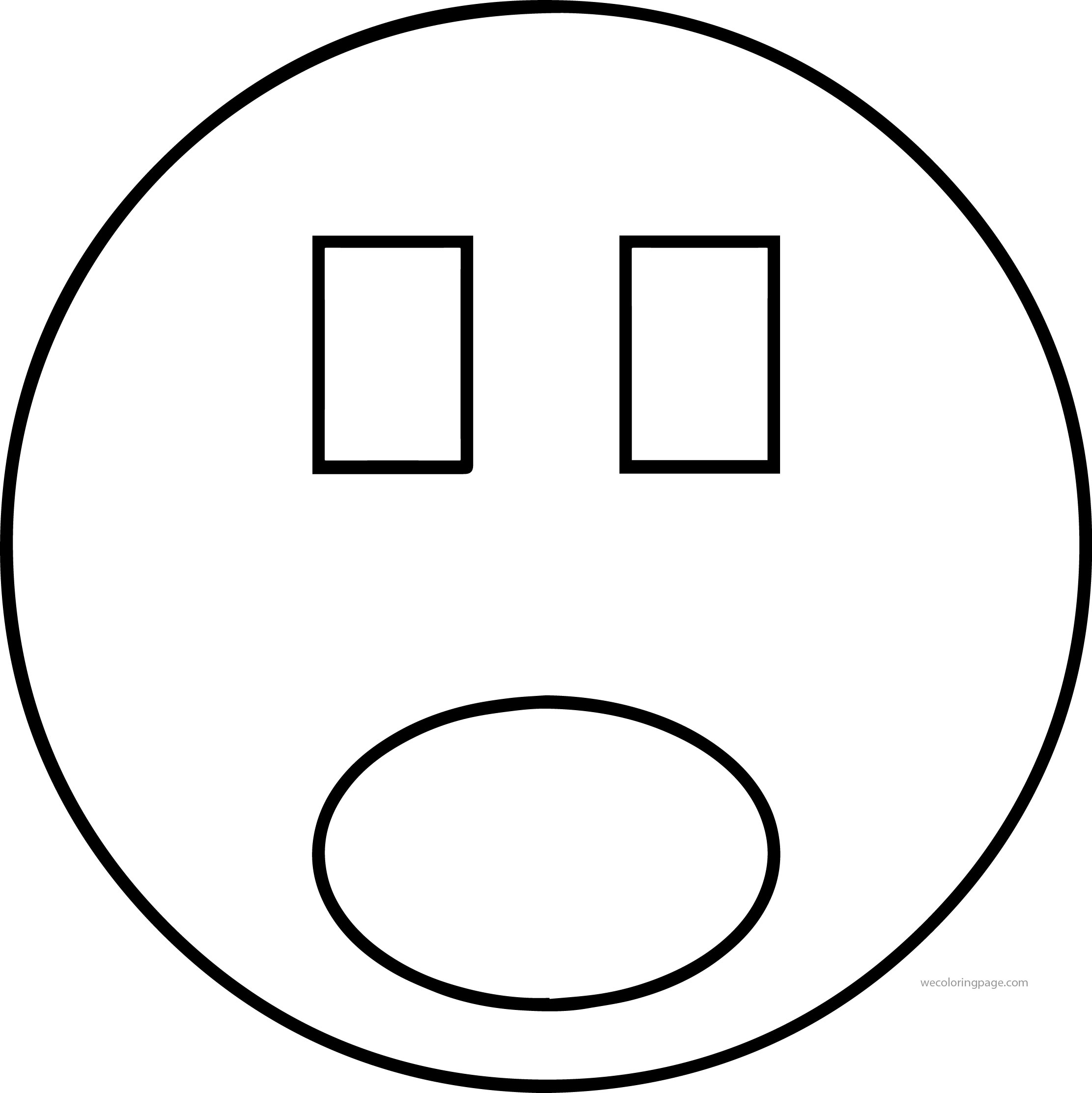 Face Rectangle Eye Free Shocked Smiley Face Illustration Coloring Page
