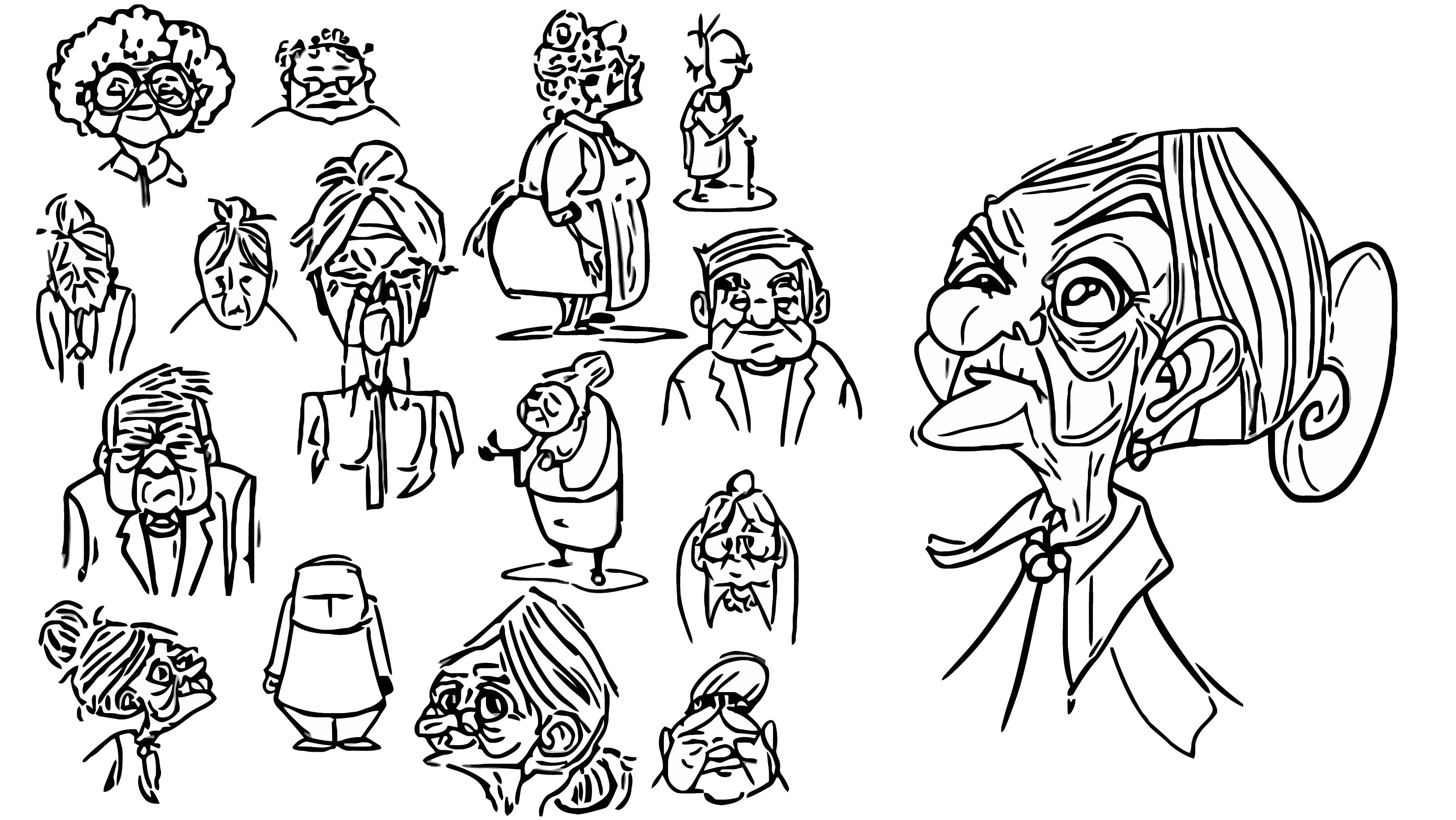 Granny Character Designs Cartoonize Coloring Page