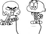 Gumball And Darwin Finished Video Game Coloring Page