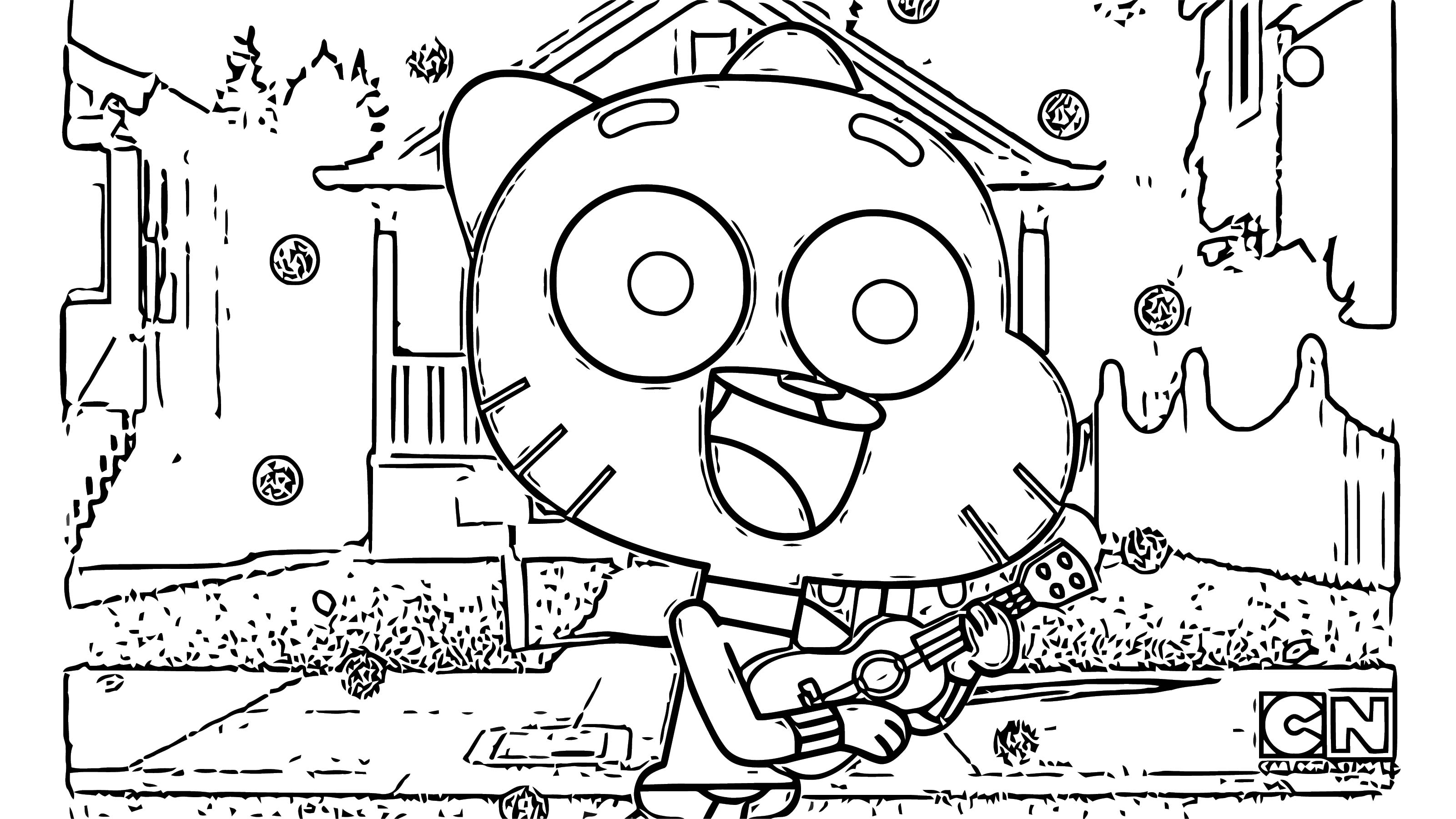 Gumball Override Guitar Thecompilation Coloring Page