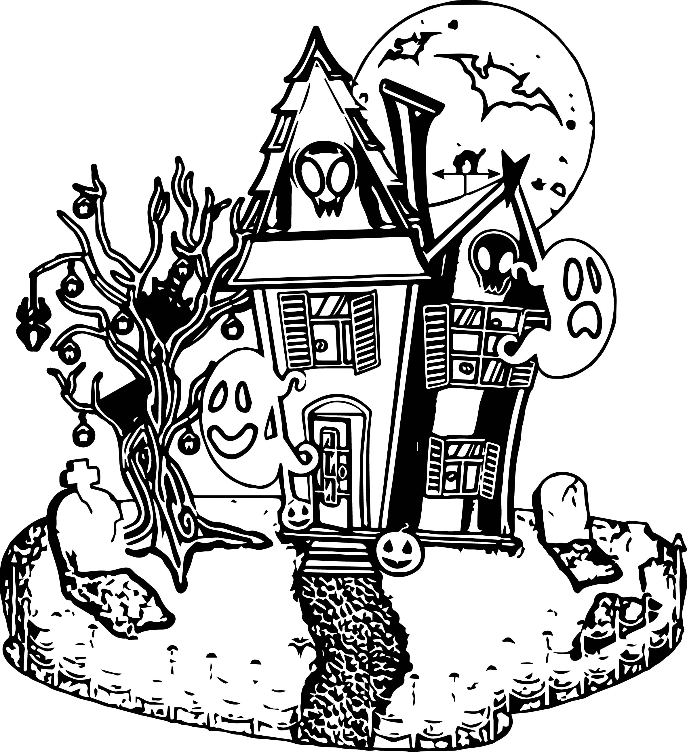 Halloween House Coloring Page