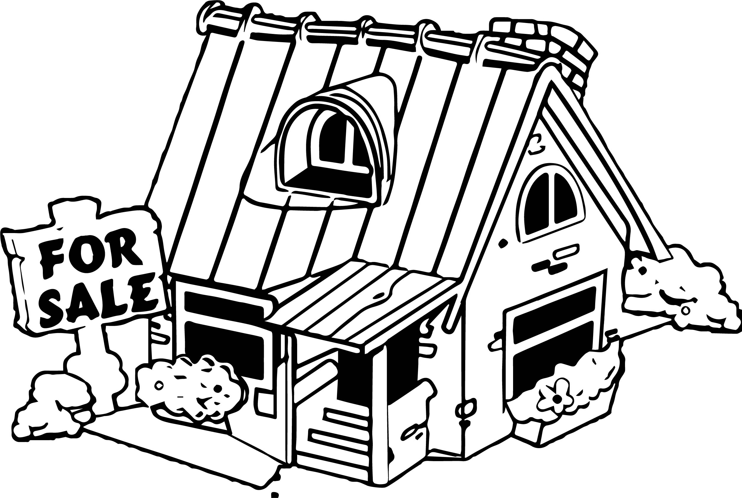 House for sale black window coloring page
