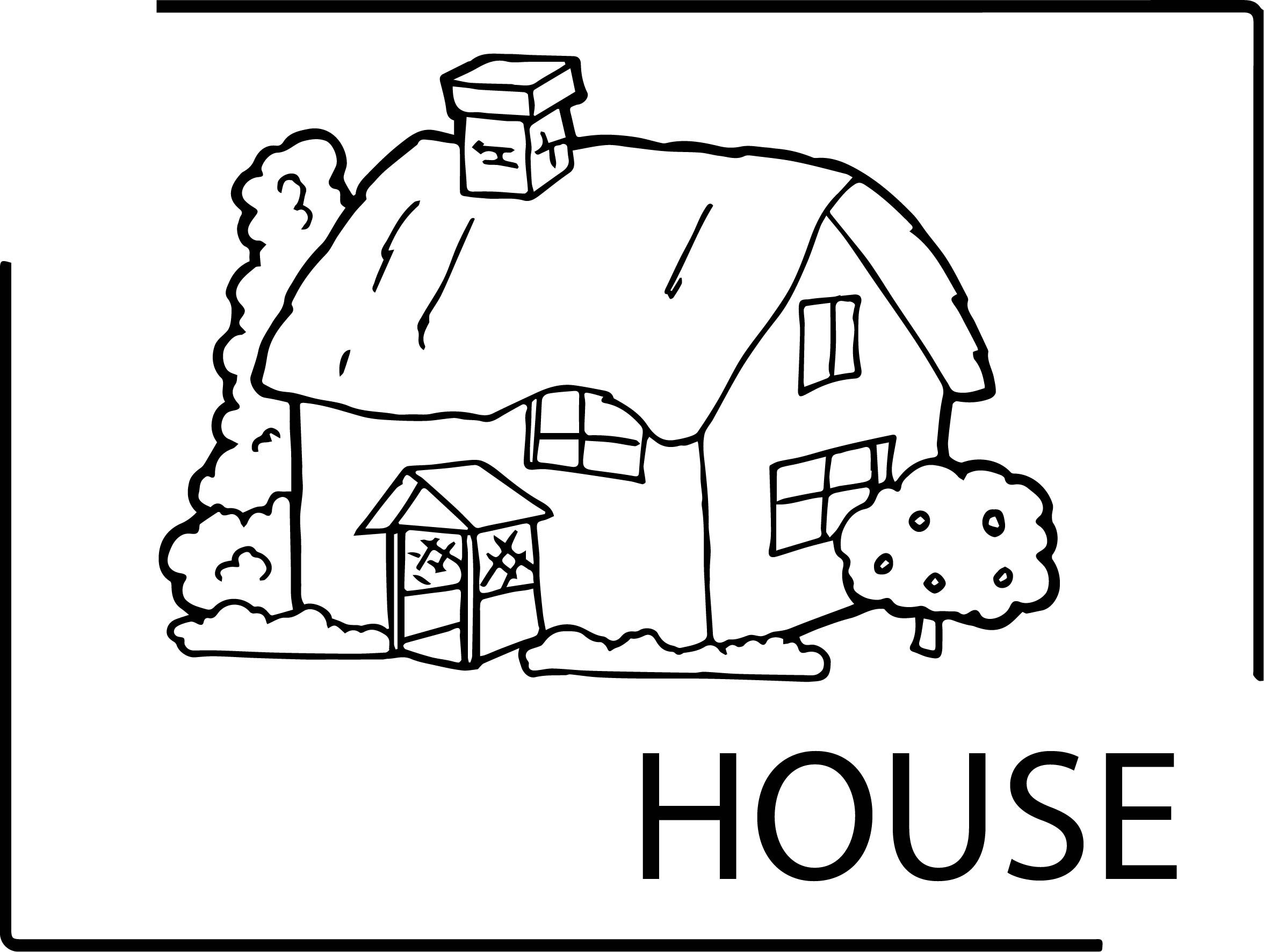 House Text And House Coloring Page