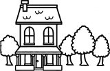 Illustration Of A House With Trees In The Summertime Coloring Page