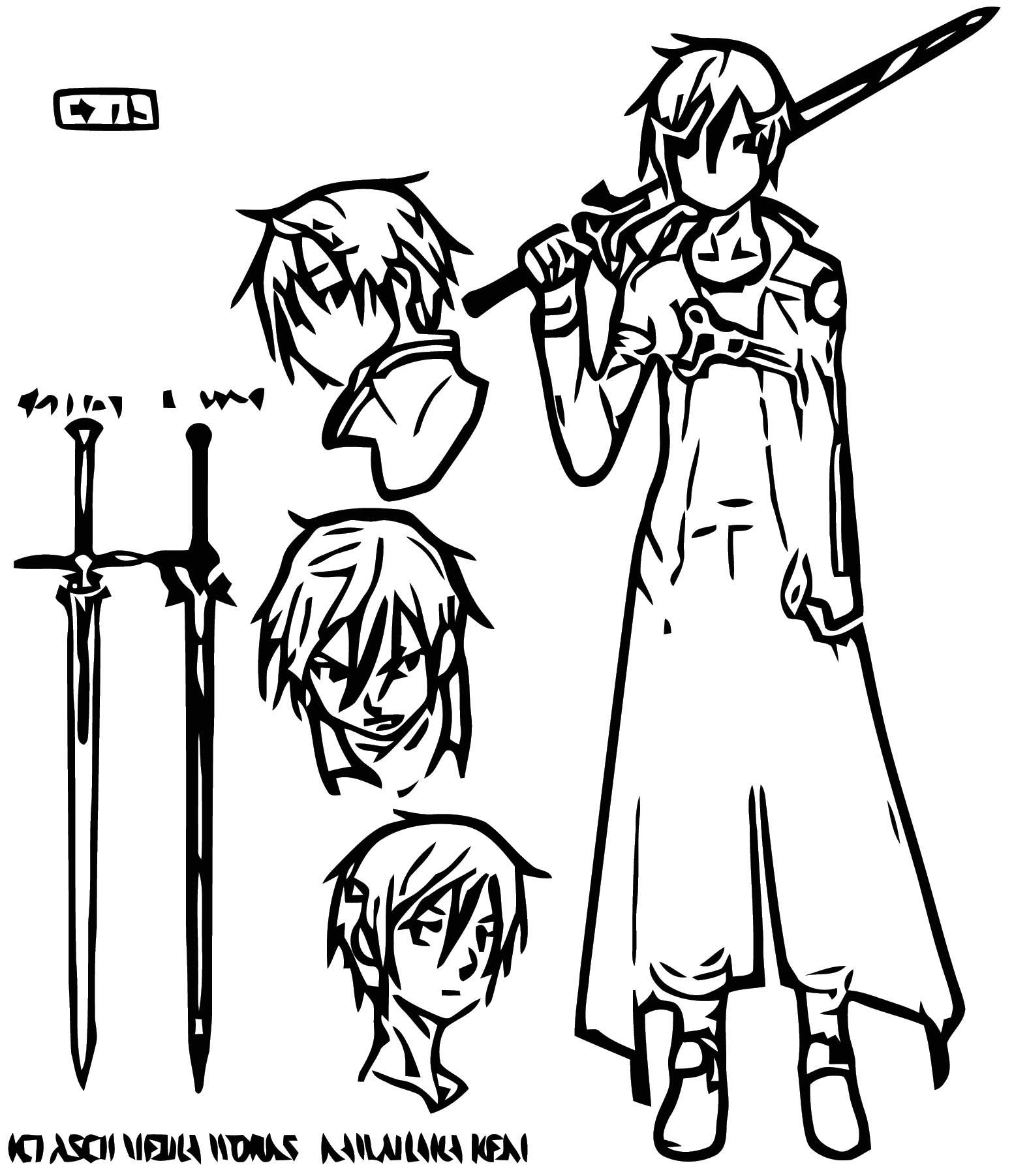 Kirito Character Design Cartoonize Coloring Page