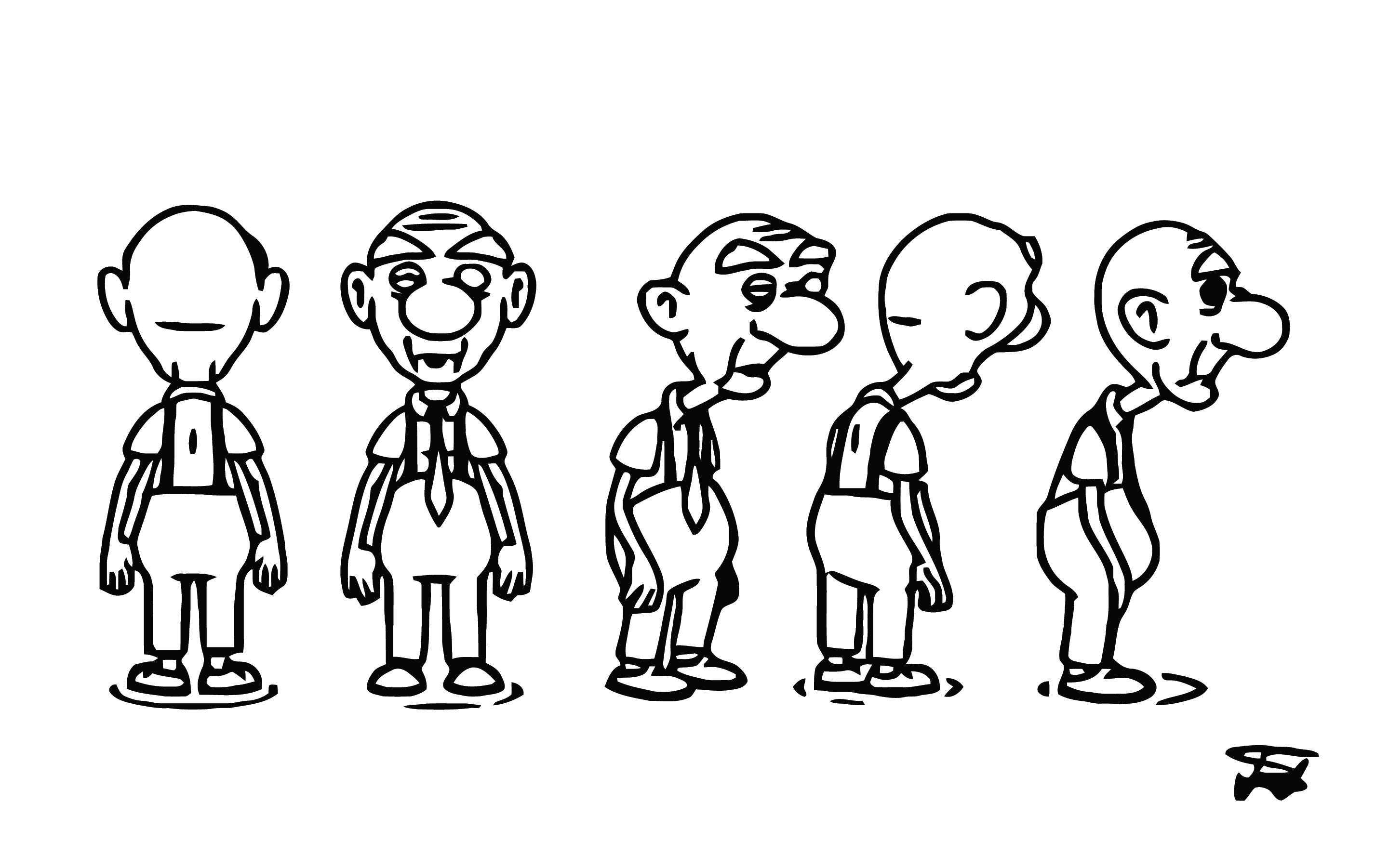 Old Man Character Model Sheet Cartoonize Coloring Page