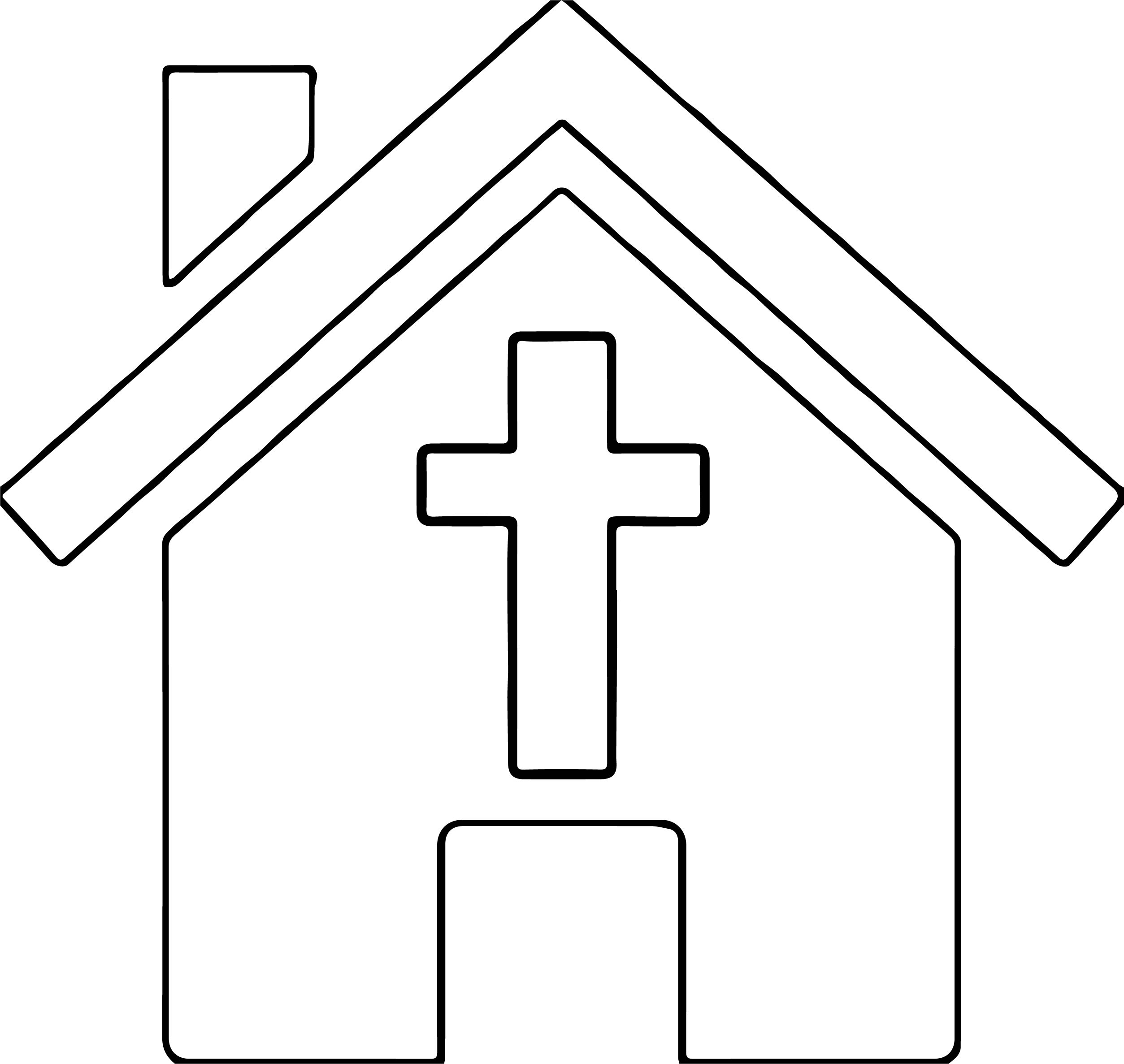Purple Church House Coloring Page
