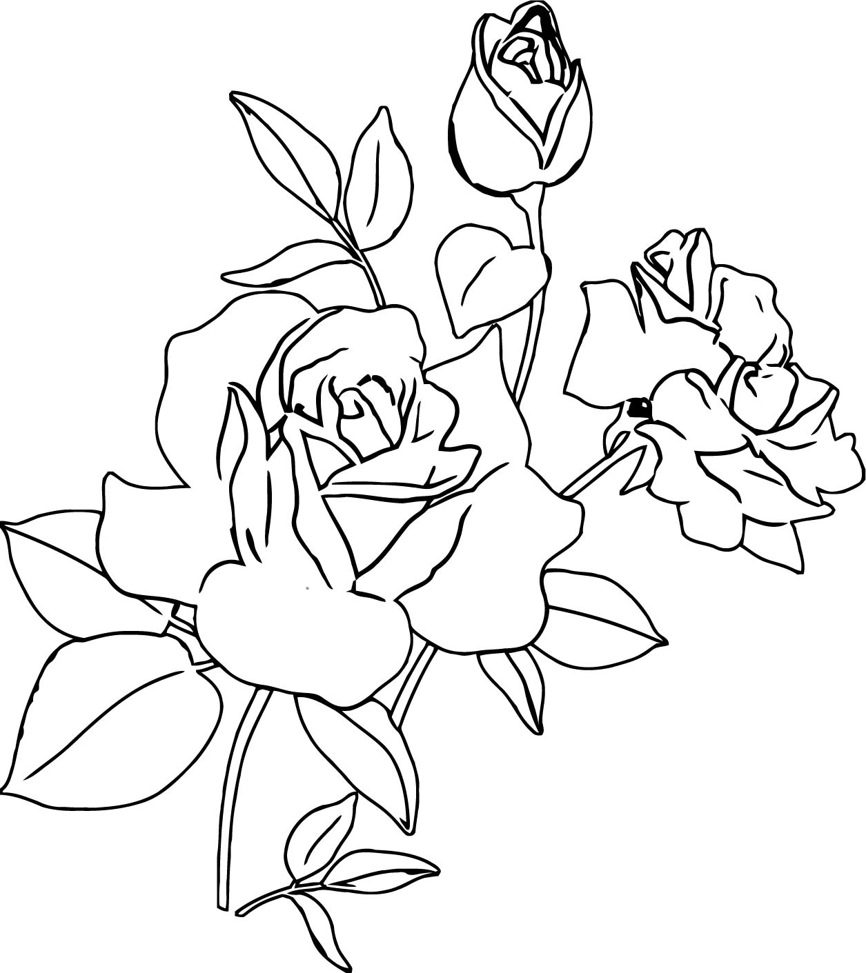 Rose Flower Coloring Page 032