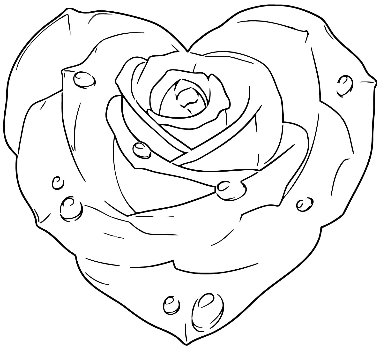 Rose Heart 1 Coloring Page