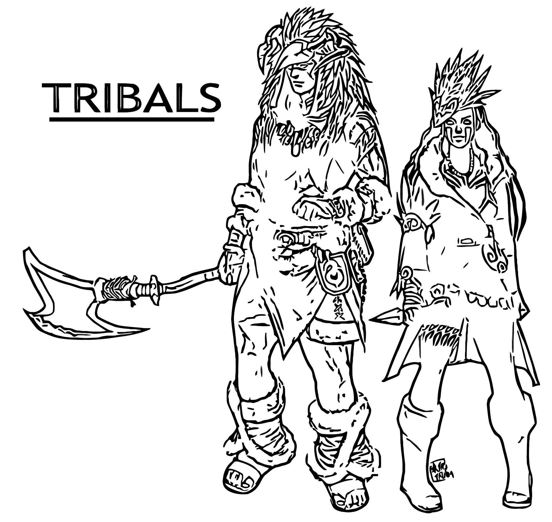 Tribal Character Design Hadesha Cartoonize Coloring Page