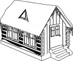 Winter Cabin House Coloring Page
