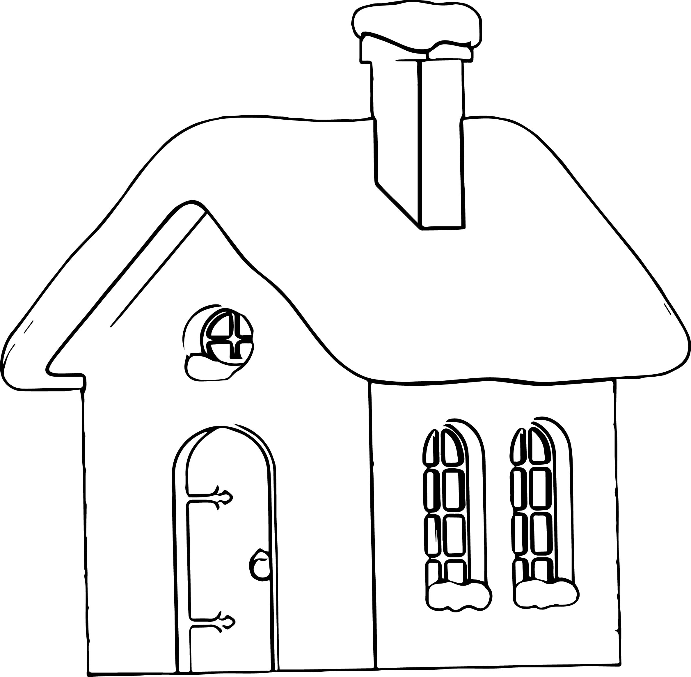 Winter House Picture Coloring Page