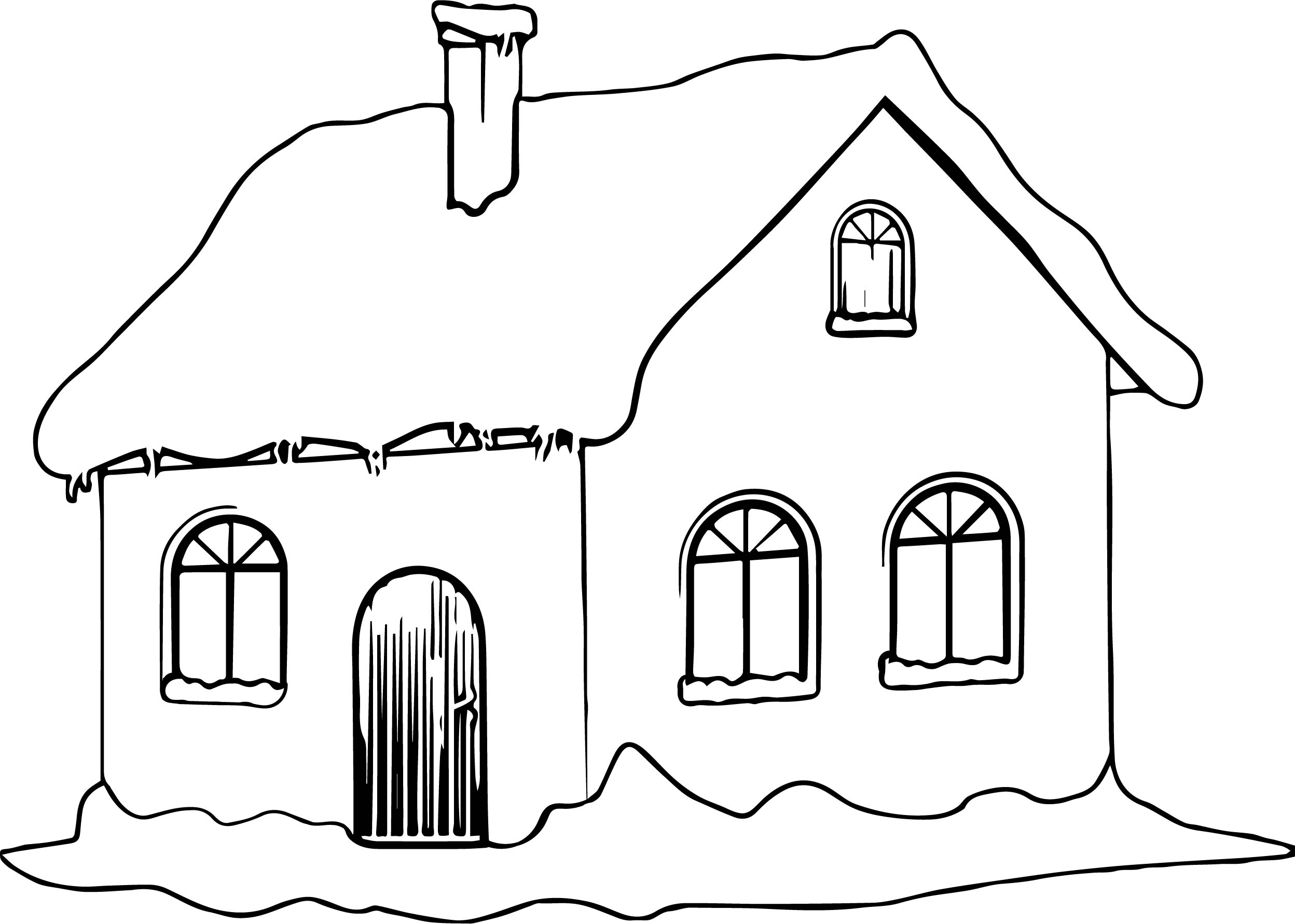 Winter House With Snow Coloring Page