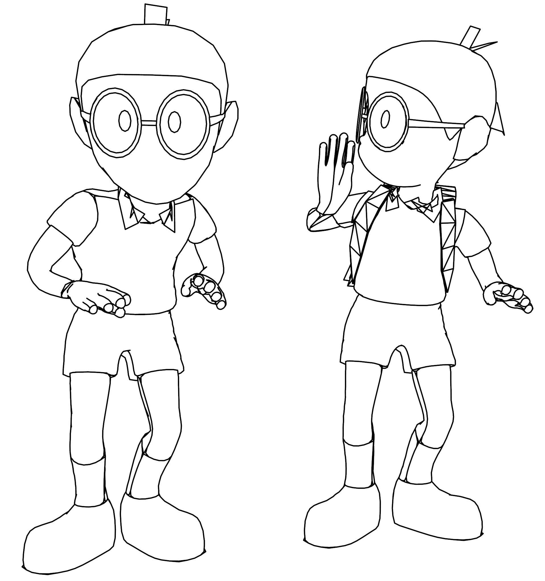 Cartoon Boy Quiet Coloring Page