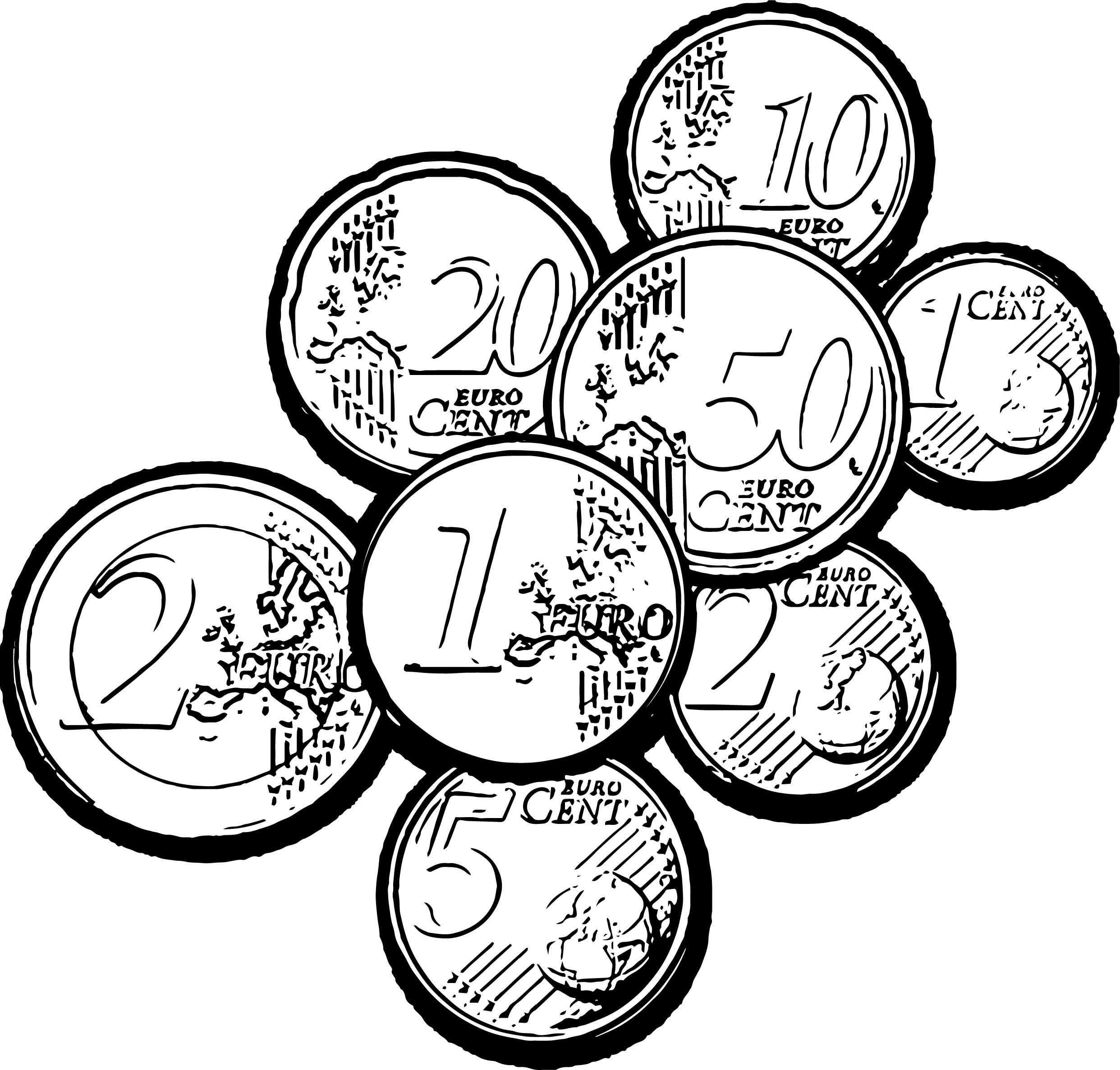 Euro Coins Coloring Page