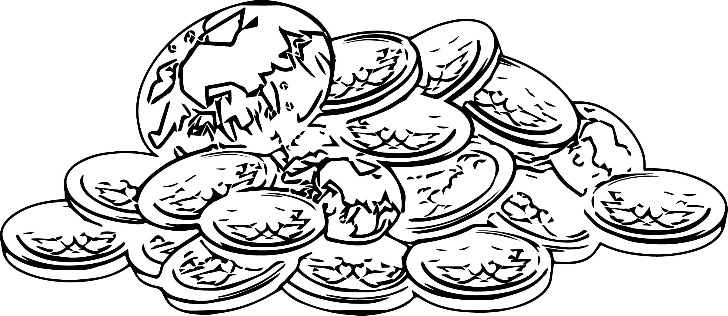 Gold Coins And Diamonds Treasure Coloring Page