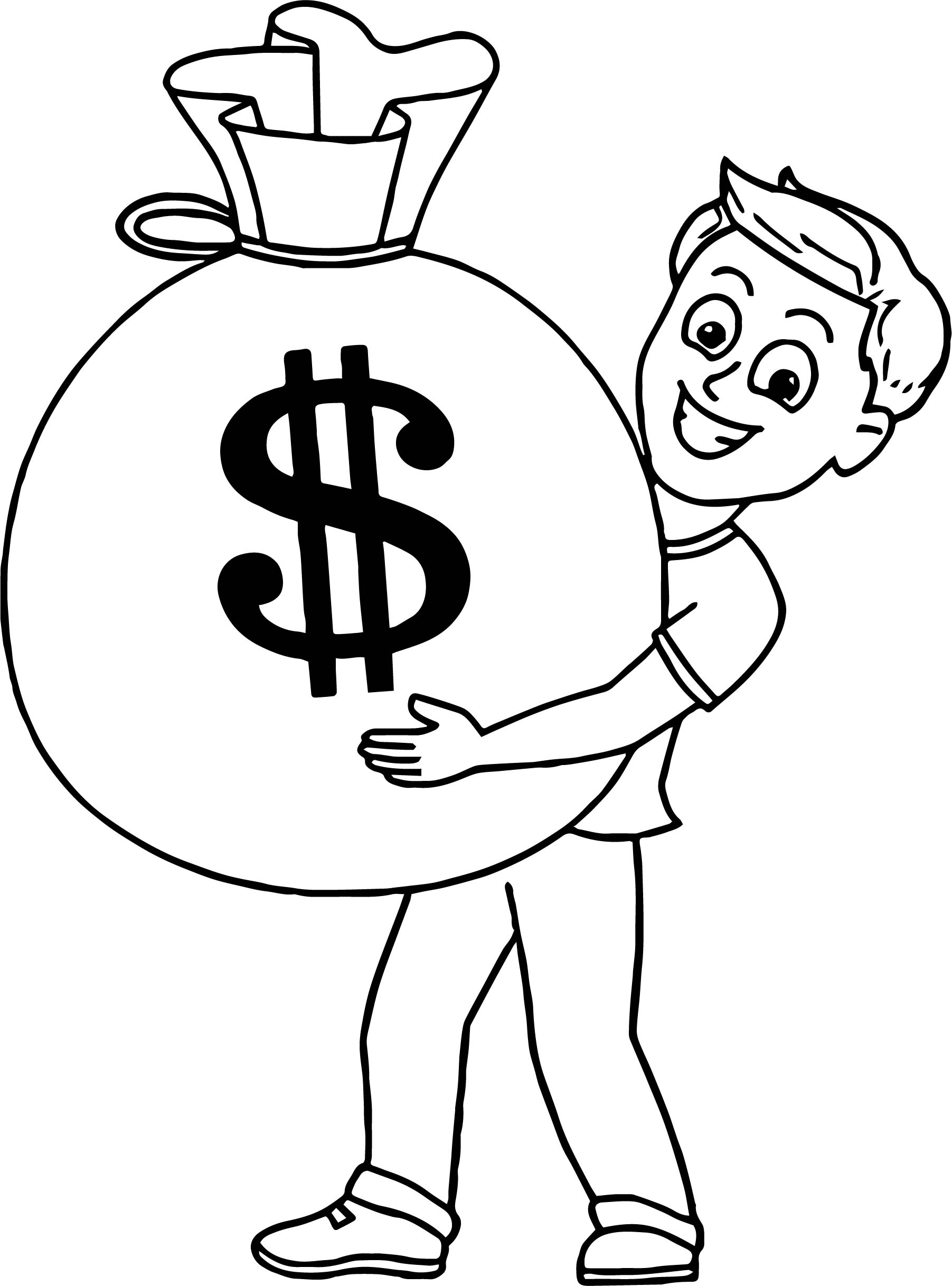 Jackpot Winner Holding Bag Of Money Coloring Page