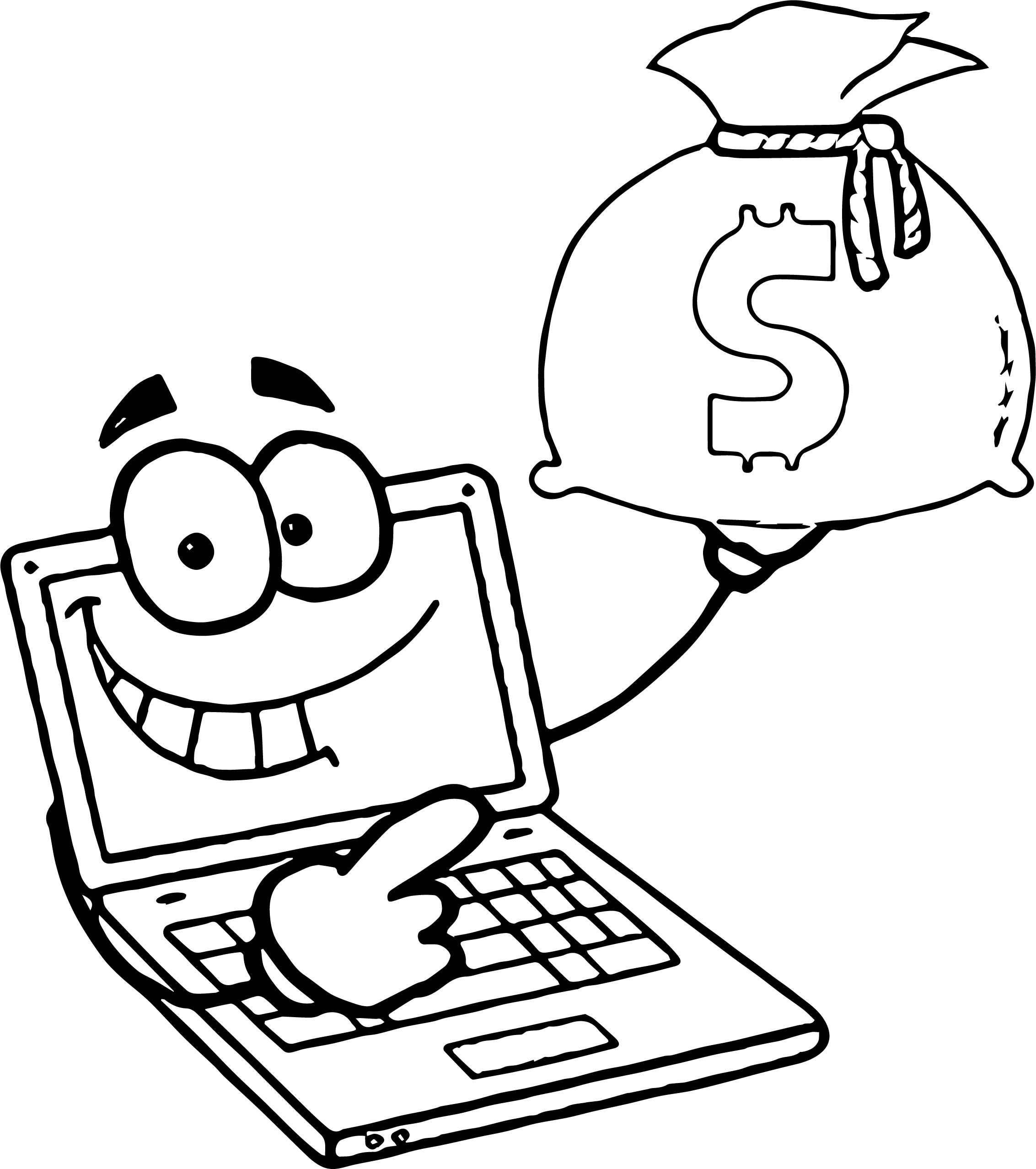 Making Money With Your Computer Laptop Computer With A Sack Of Cash Coloring Page