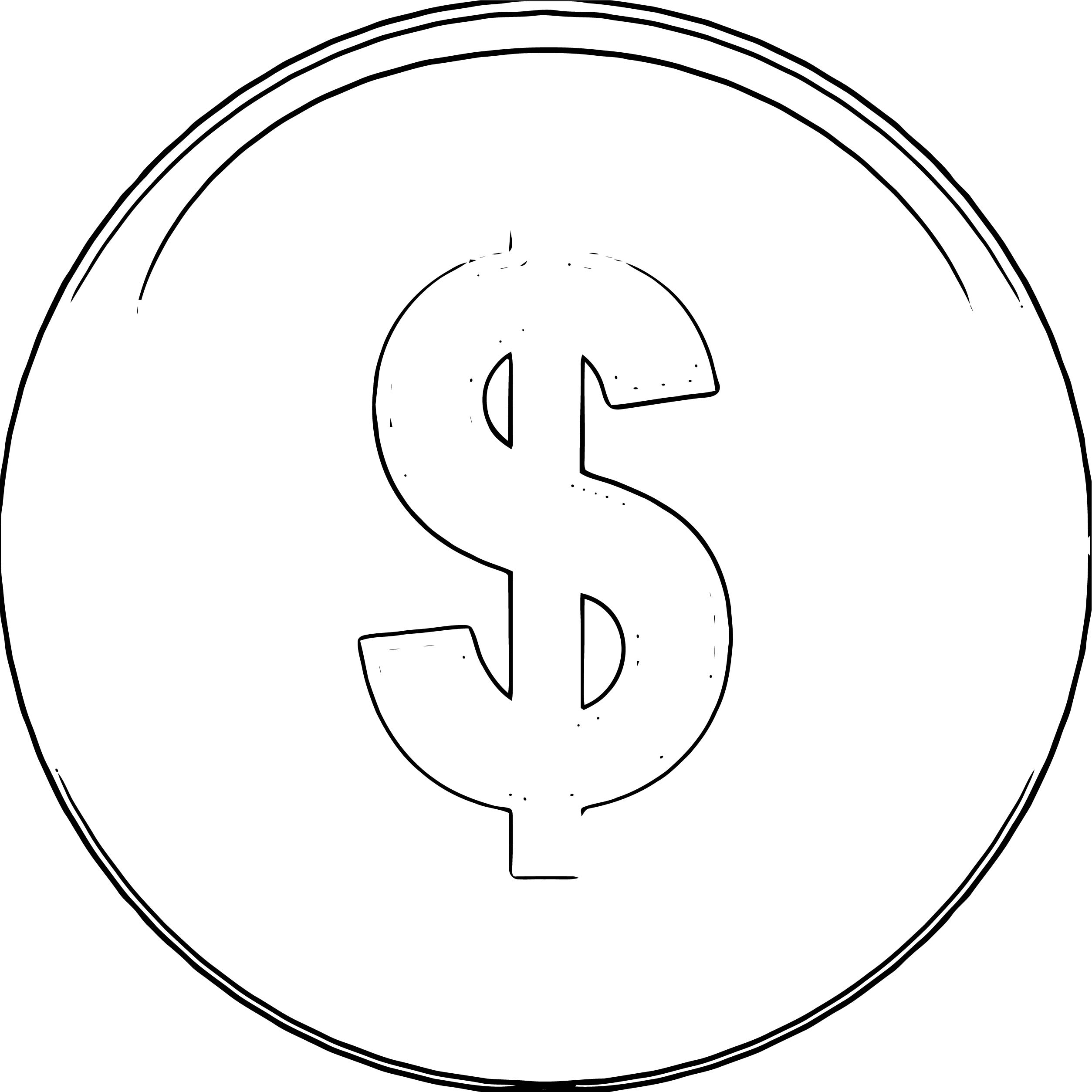 Money Financial Button Coloring Page