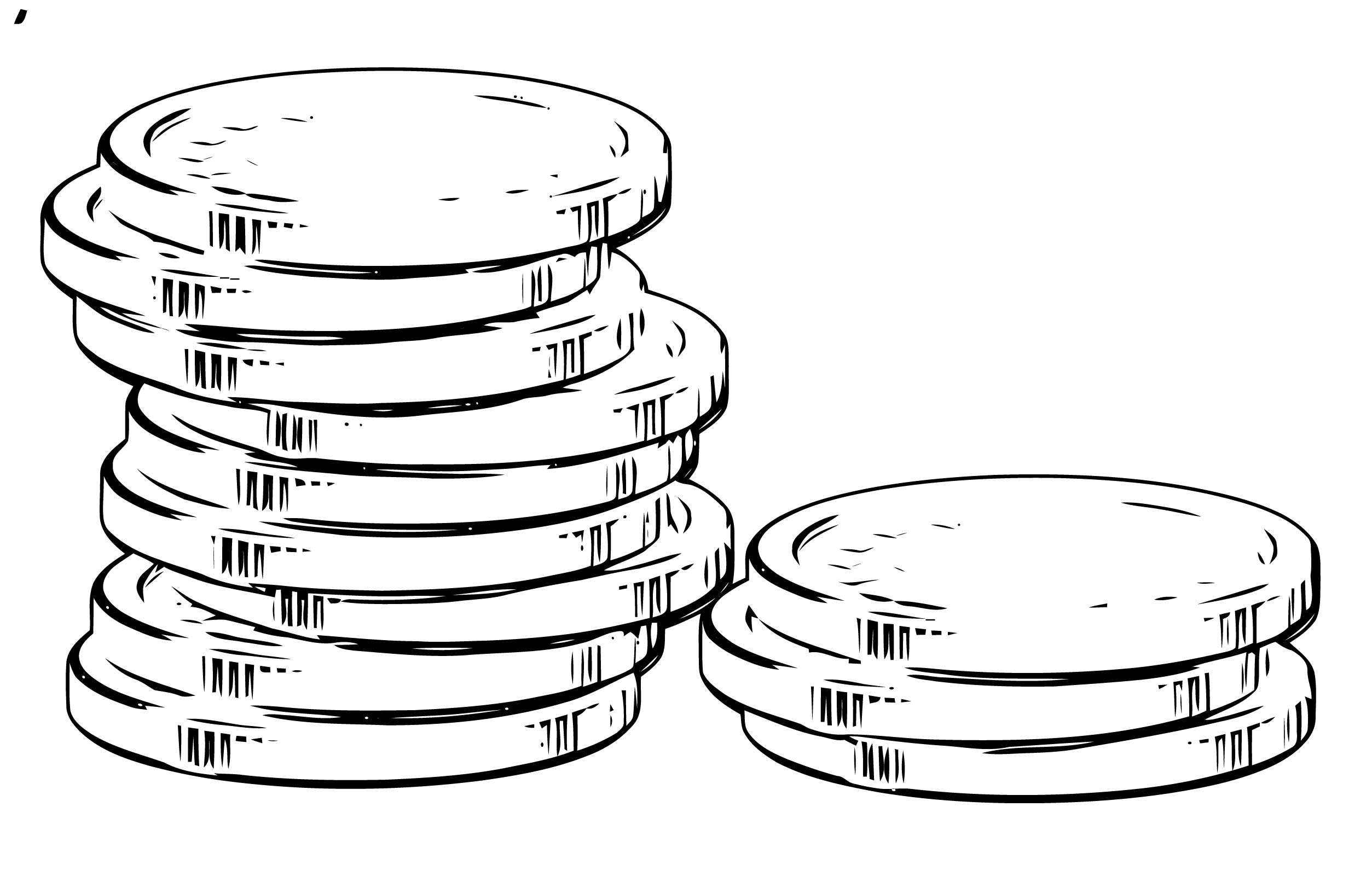 Money Gold Coin Pile Coloring Page