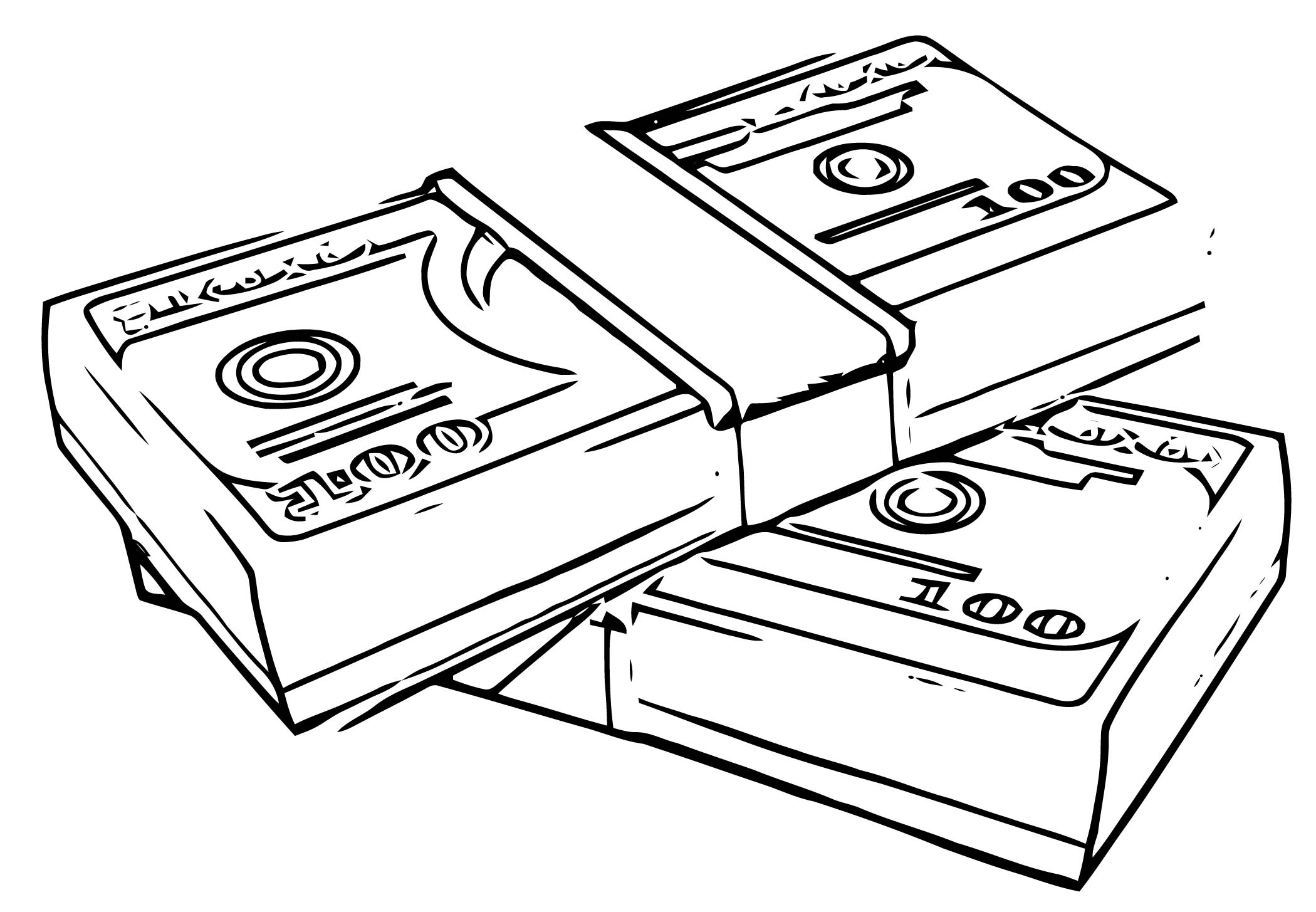 Money Stacks Free Coloring Page