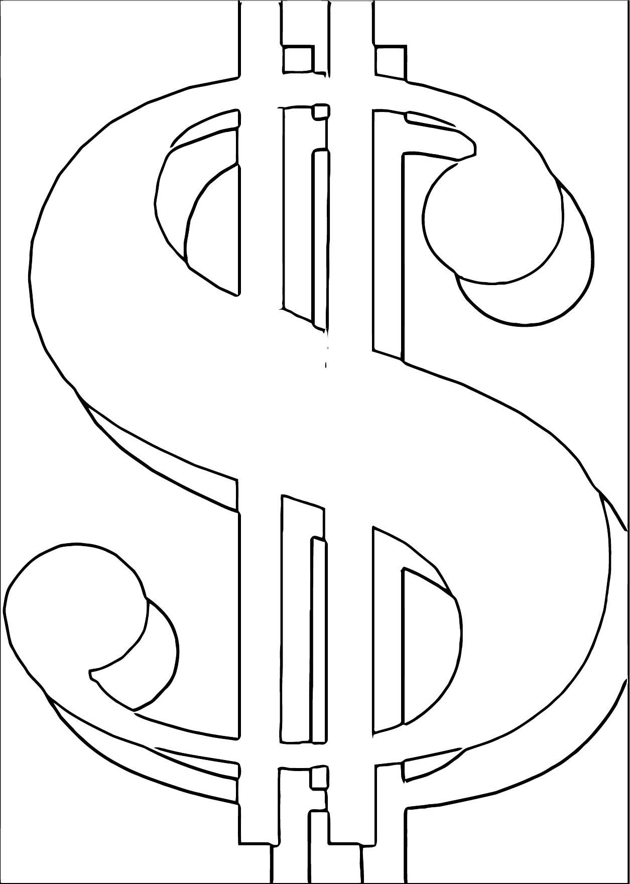 Money Symbol Coloring Page