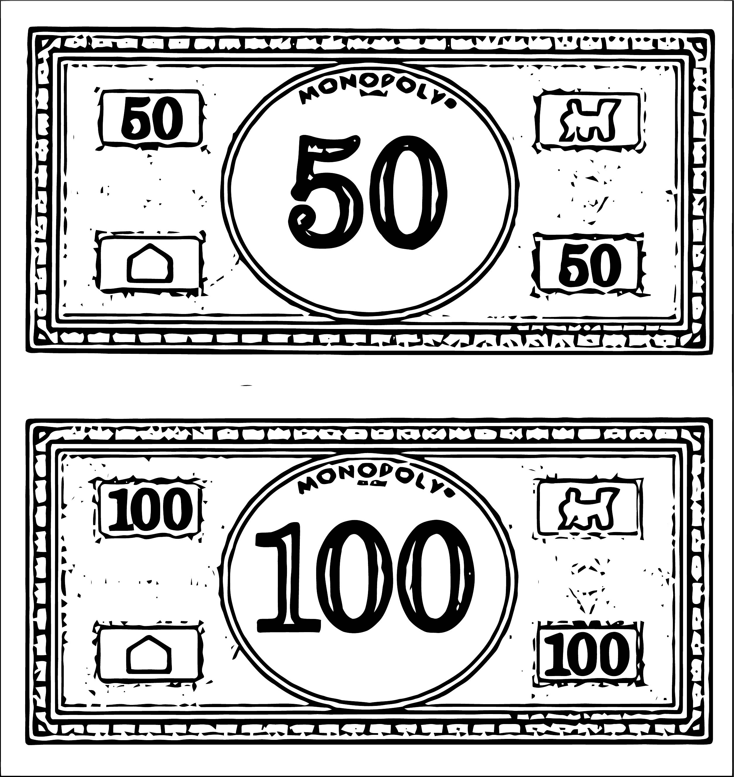 Monopoly Money Coloring Page