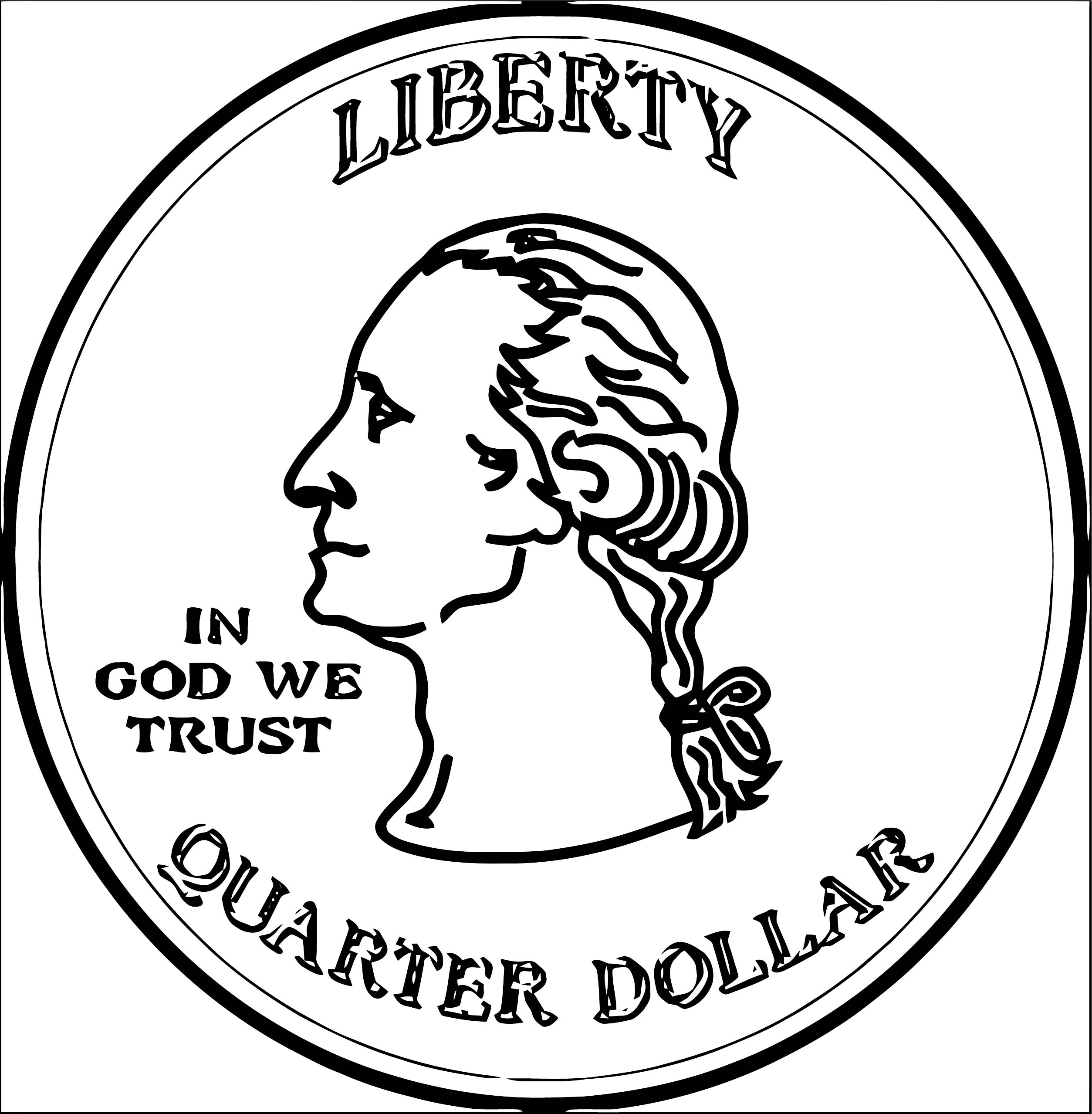Quarter Money Coloring Page