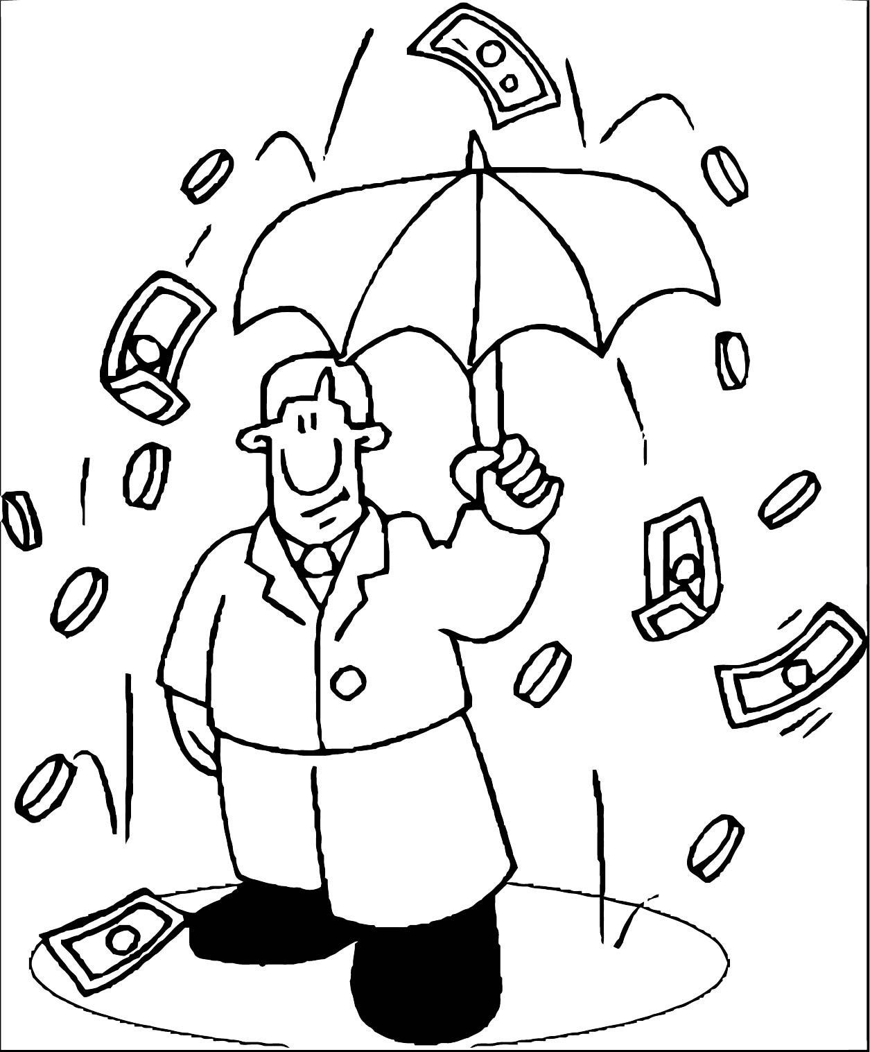 Raining Money 1 Coloring Page