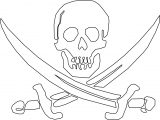 Skull Pirate Blade Outline Coloring Page