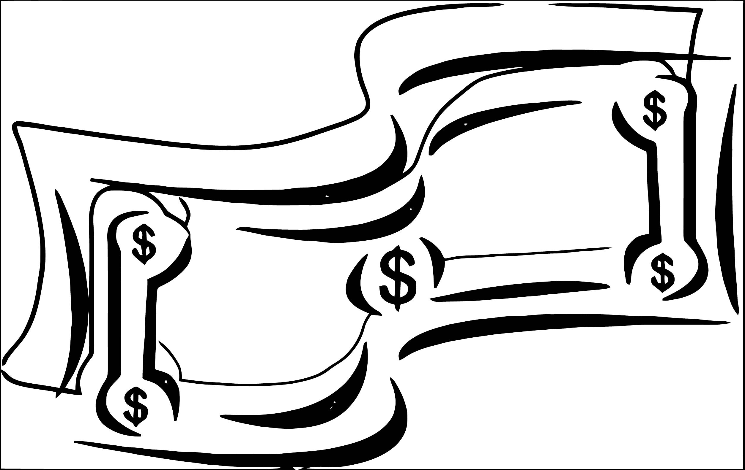Stylized Dollar Bill Money Coloring Page