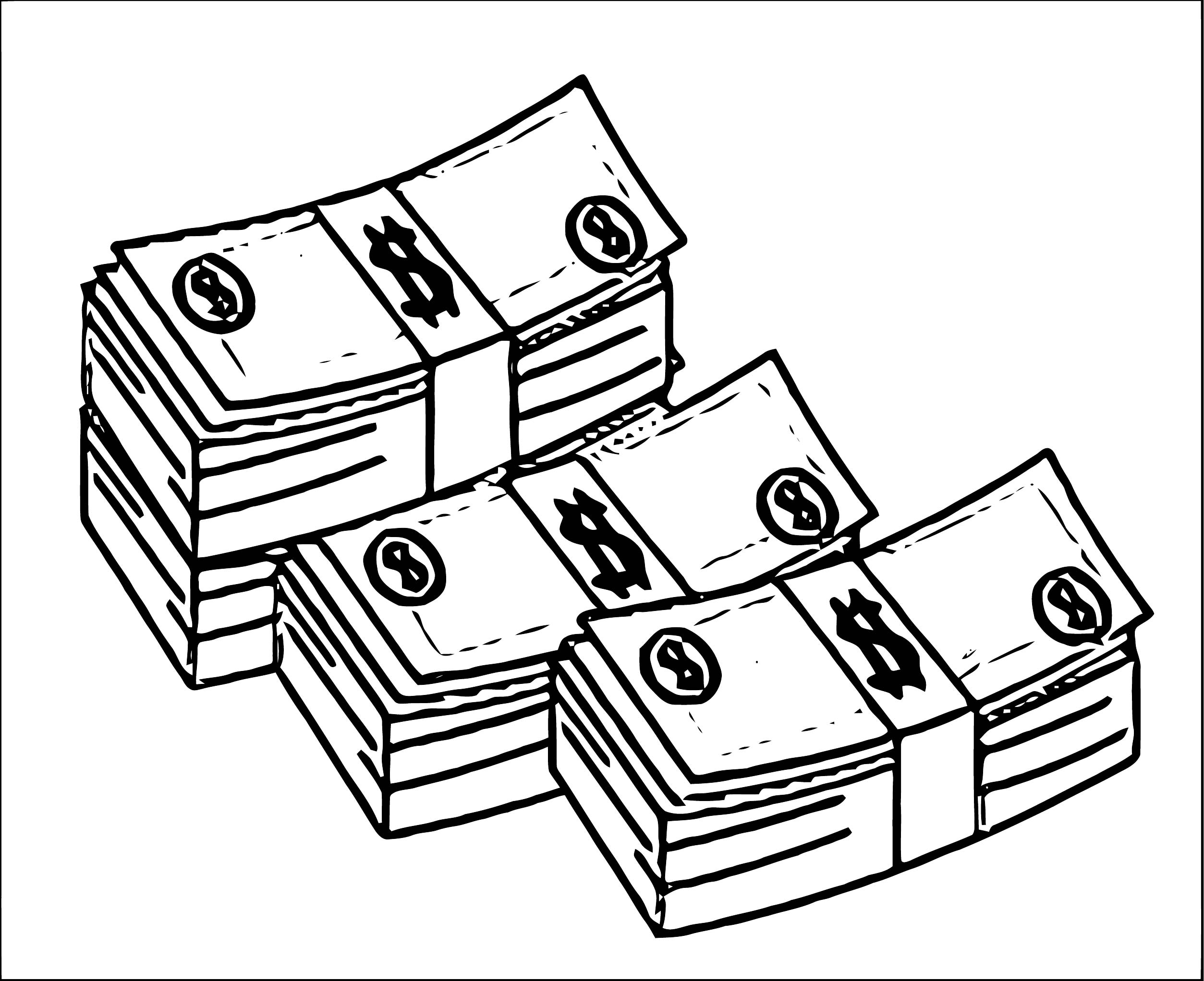 TN Banknotes Stack Of Money Coloring Page