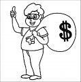 TN Robber With Mask Holding Bag Money Coloring Page