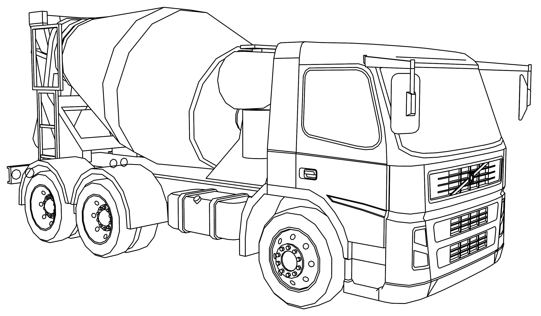Volvo FM12 Concrete Truck Coloring Page