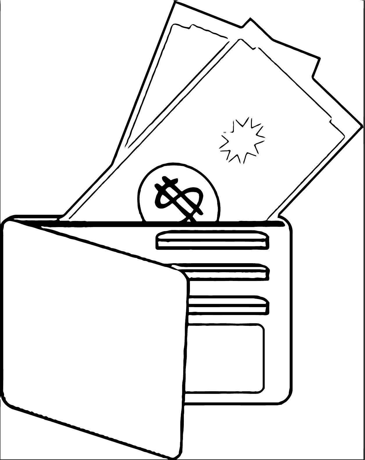 Wallet With Money And Credit Cards Coloring Page